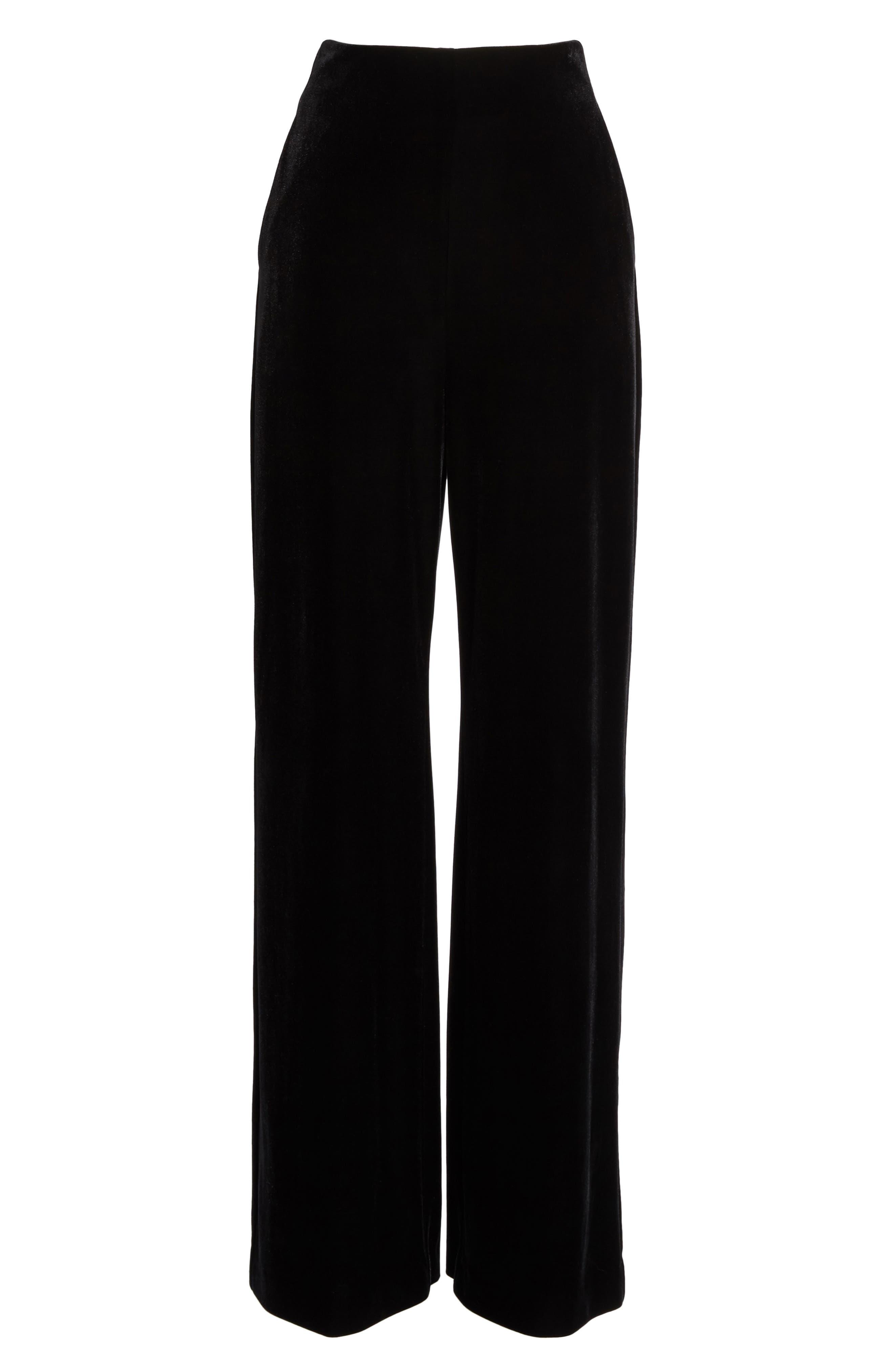Velvet Trousers,                             Alternate thumbnail 9, color,                             Black
