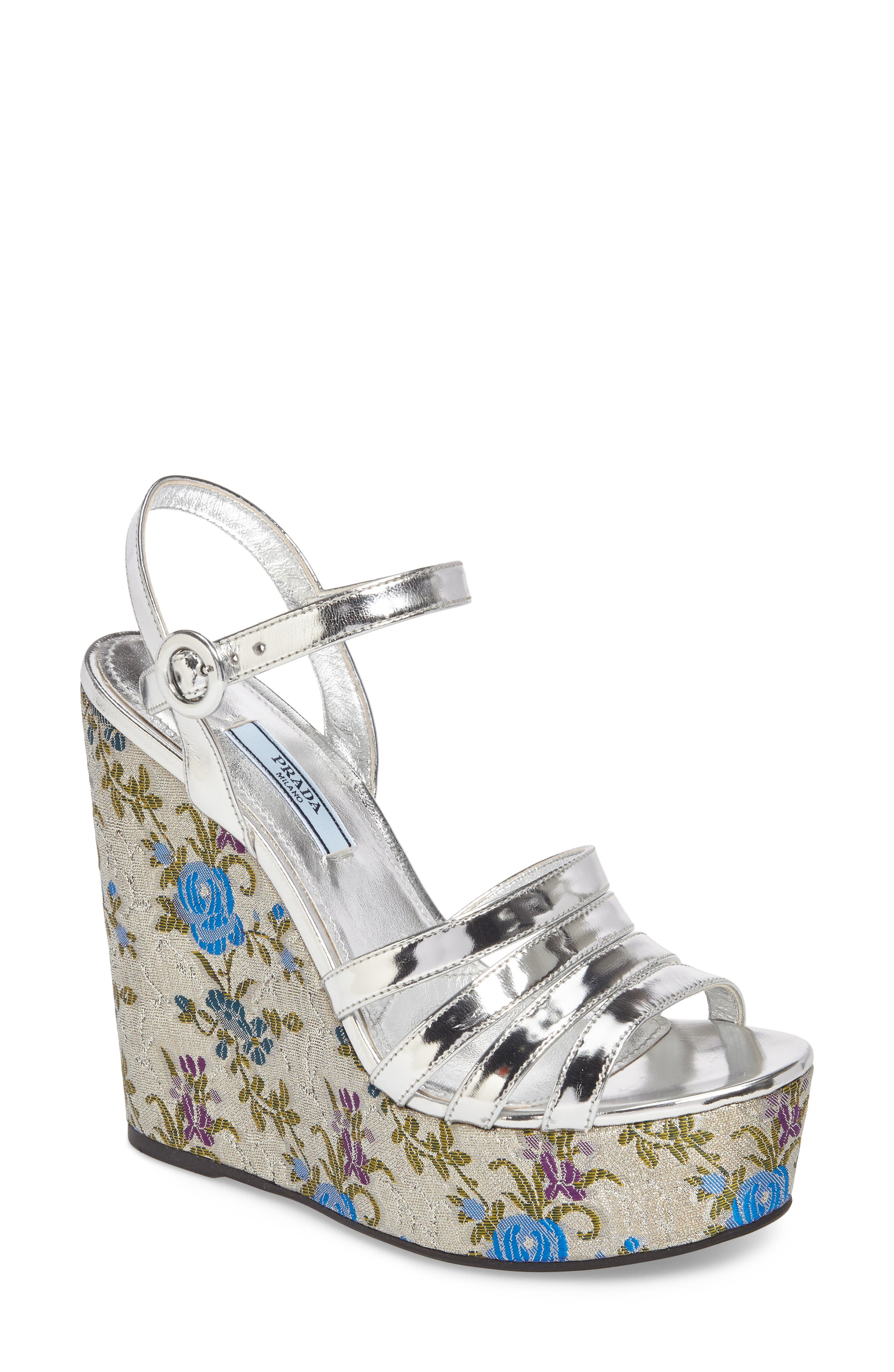 Floral Wedge Platform Sandals,                             Main thumbnail 1, color,                             Silver/ Blue