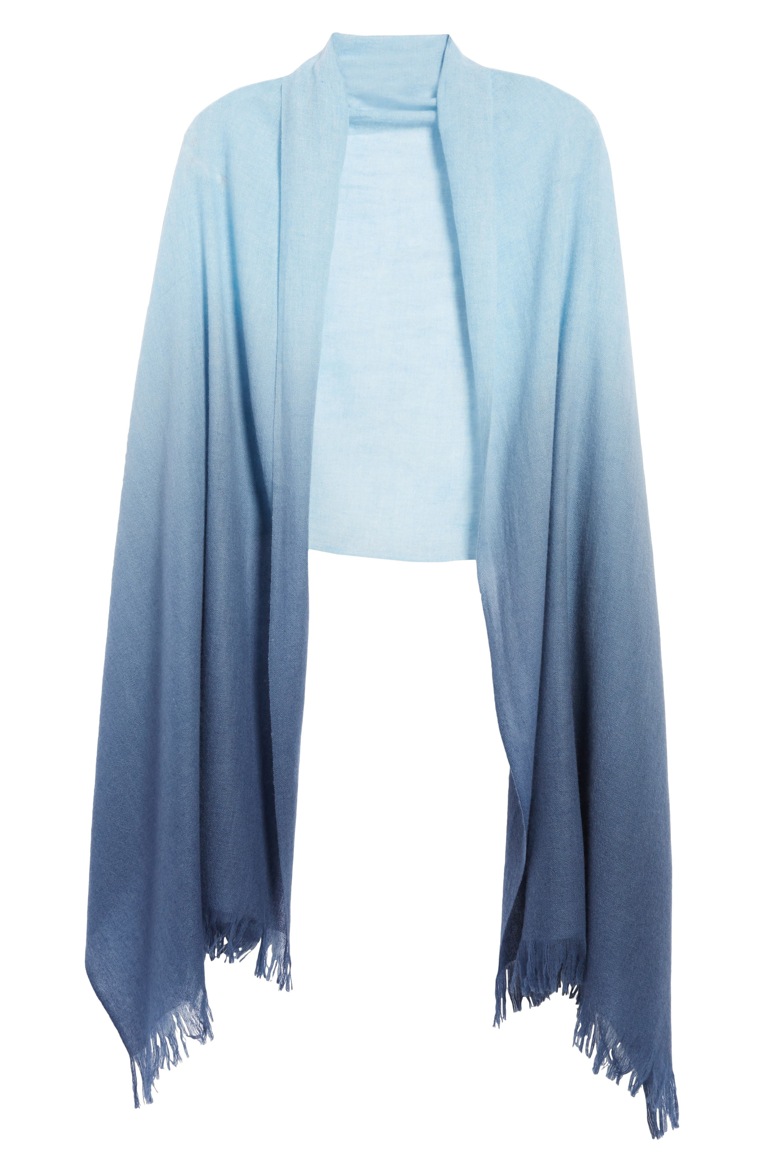 Caslon Dip Dye Cashmere Wrap,                             Alternate thumbnail 6, color,                             Blue Combo