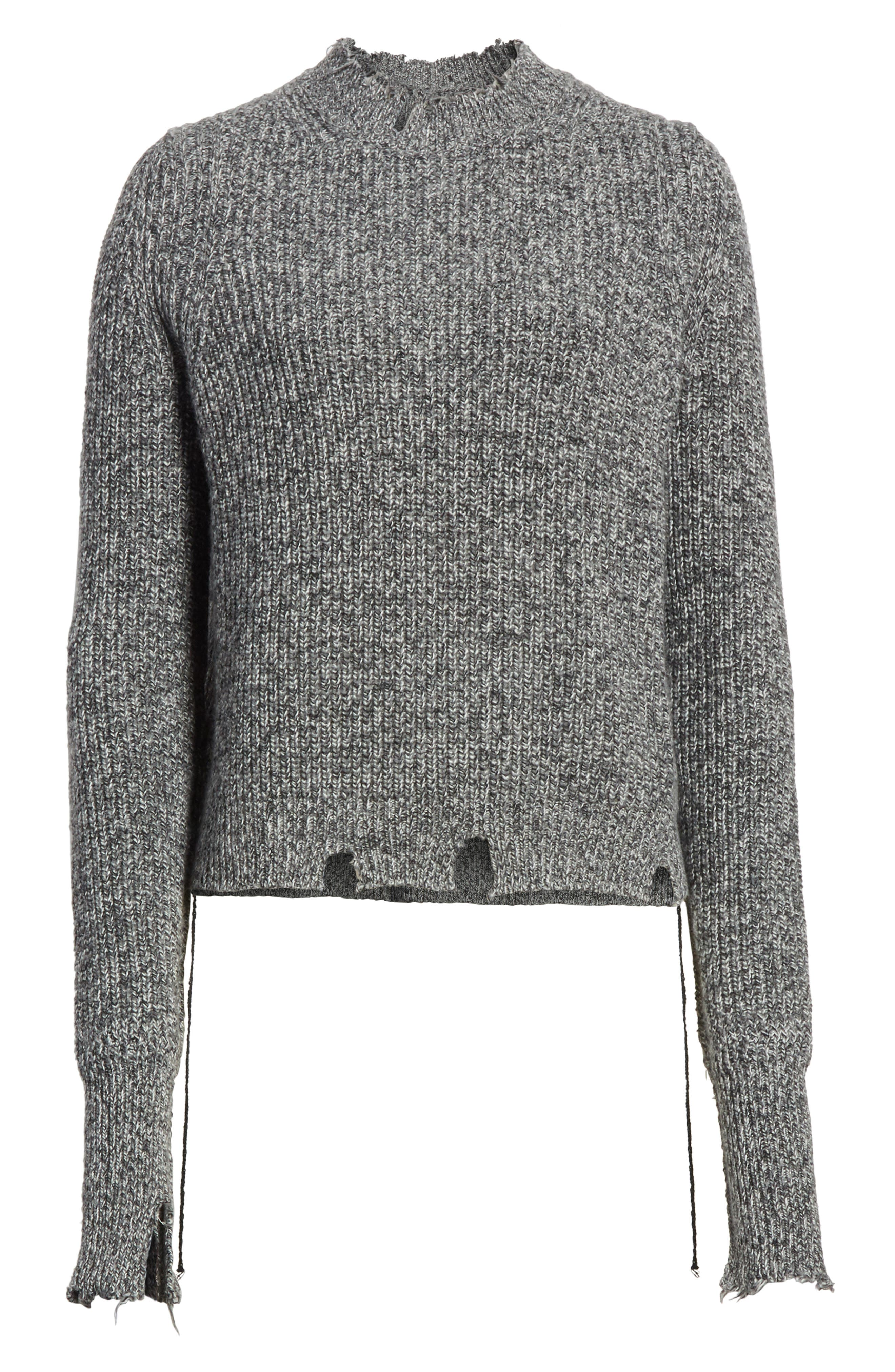Grunge Marl Sweater,                             Alternate thumbnail 6, color,                             Charcoal