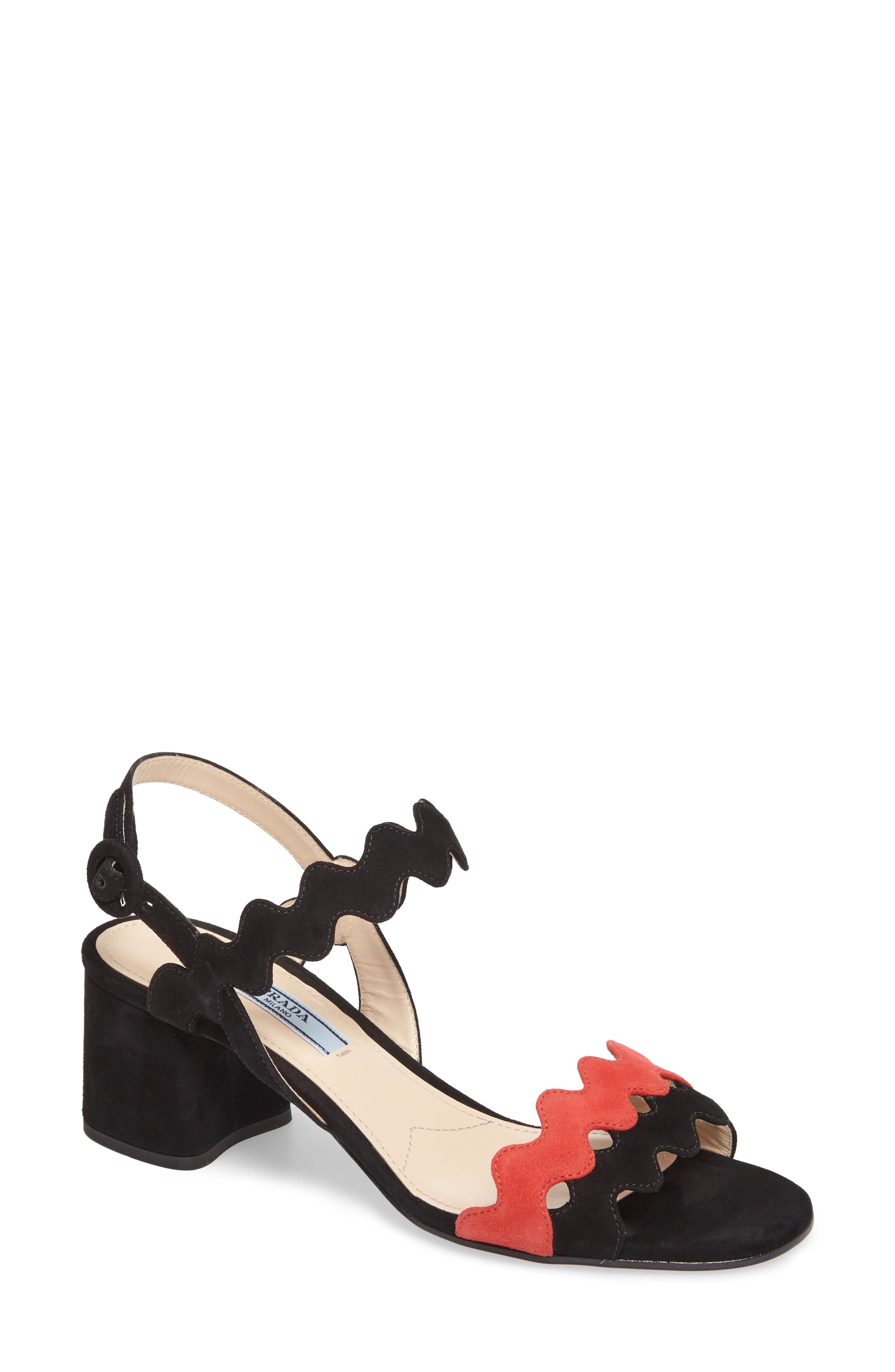 Alternate Image 1 Selected - Prada Double Strap Wave Sandal (Women)