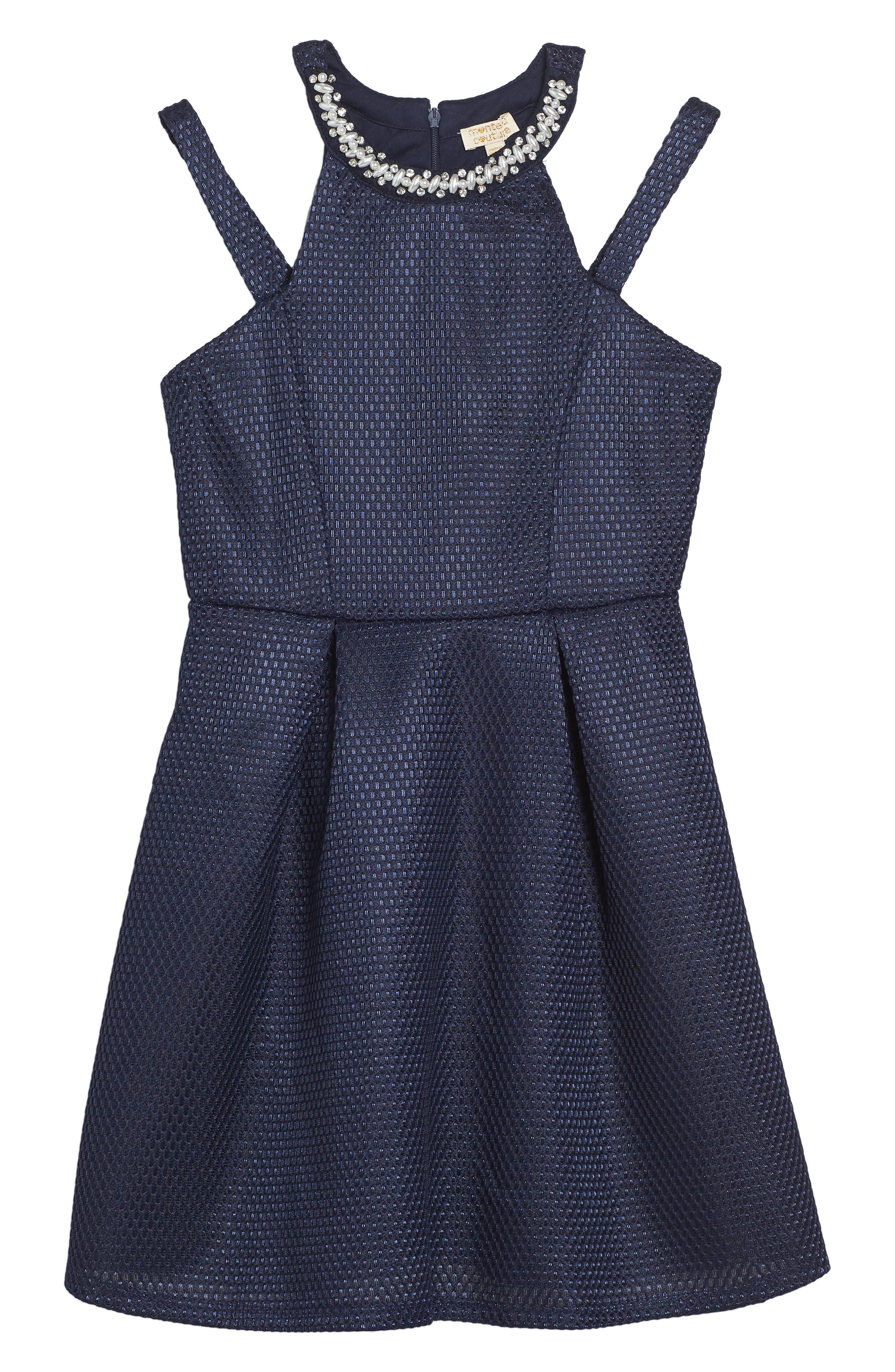 Monteau Couture Cold Shoulder Dress (Big Girls)