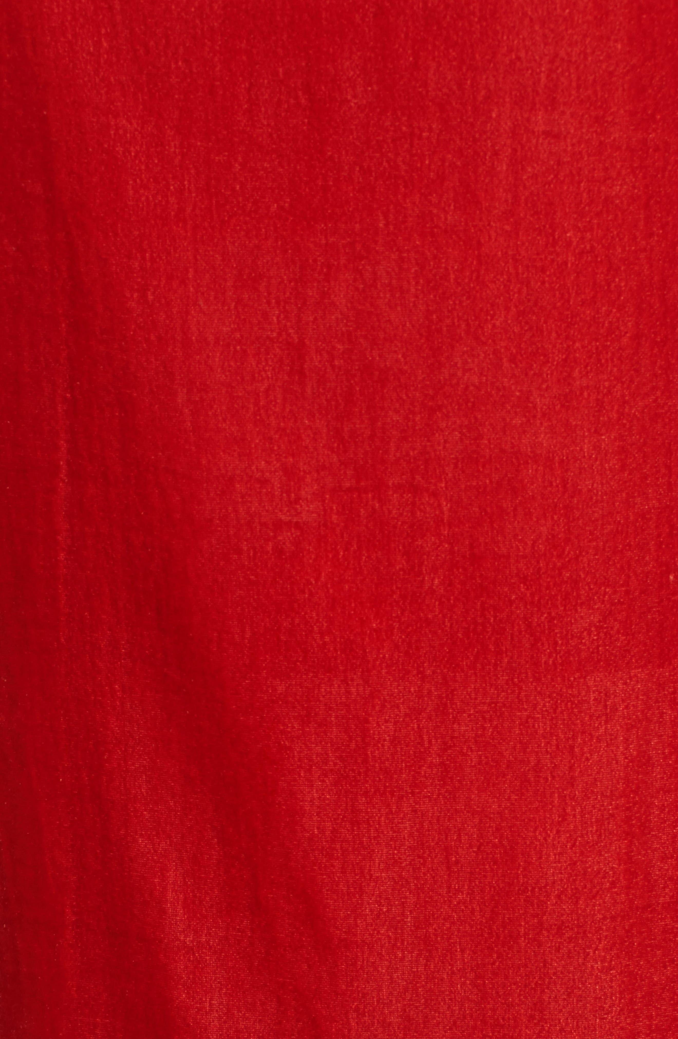 Zip Shoulder Velvet Shift Dress,                             Alternate thumbnail 5, color,                             Cherry