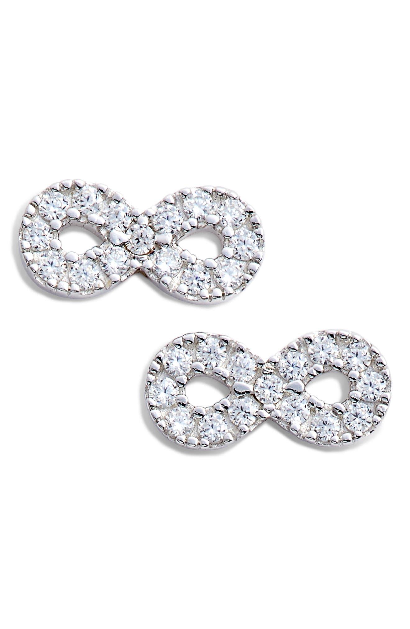 Infinity Stud Earrings,                             Main thumbnail 1, color,                             Platinum