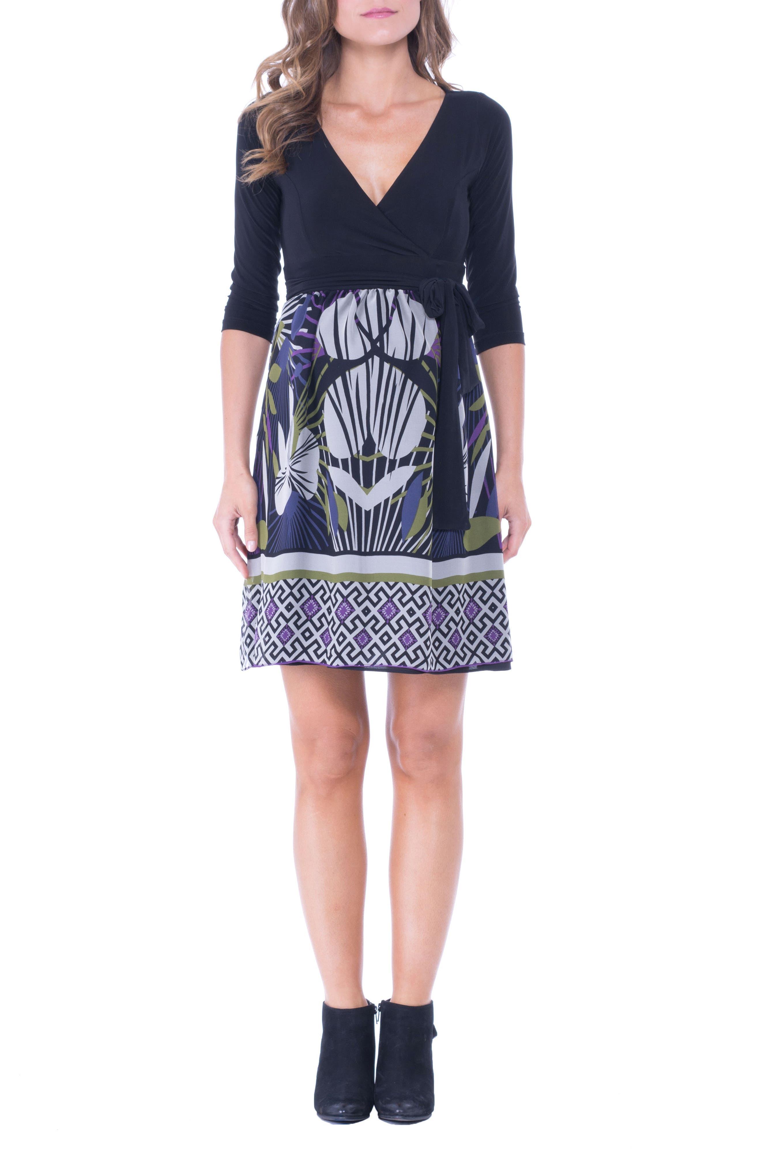 Olian Print Silk & Jersey Surplice Maternity Dress