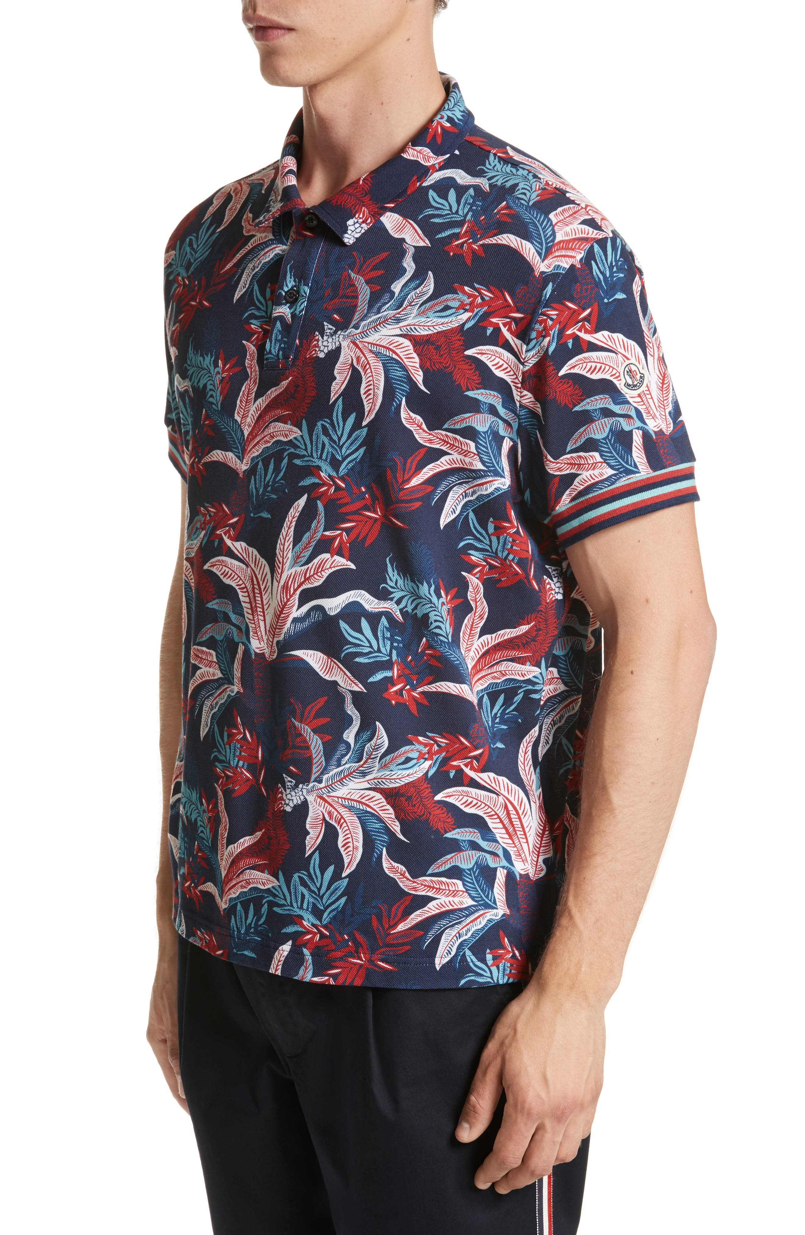 Floral Print Polo,                             Alternate thumbnail 4, color,                             Dark Blue
