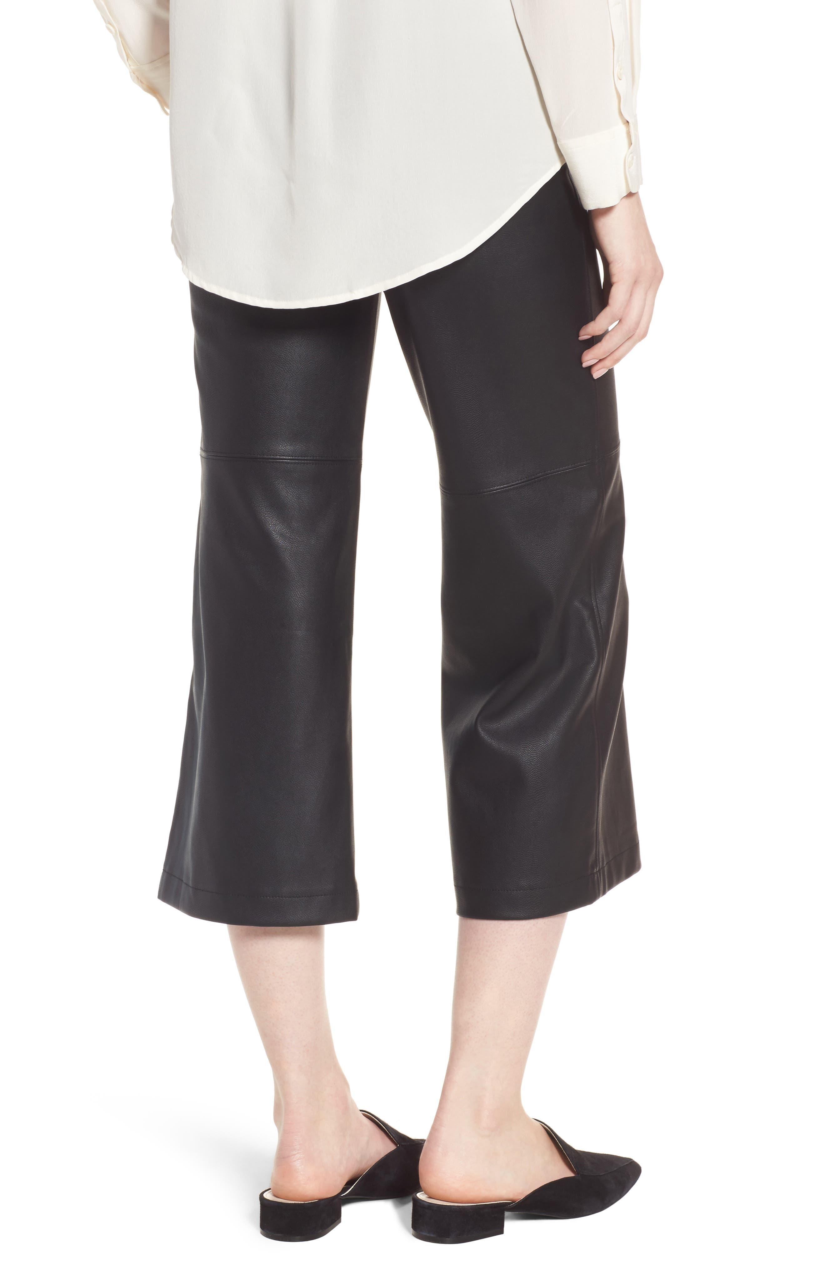 Varick Wide Leg Faux Leather Culottes,                             Alternate thumbnail 2, color,                             Black