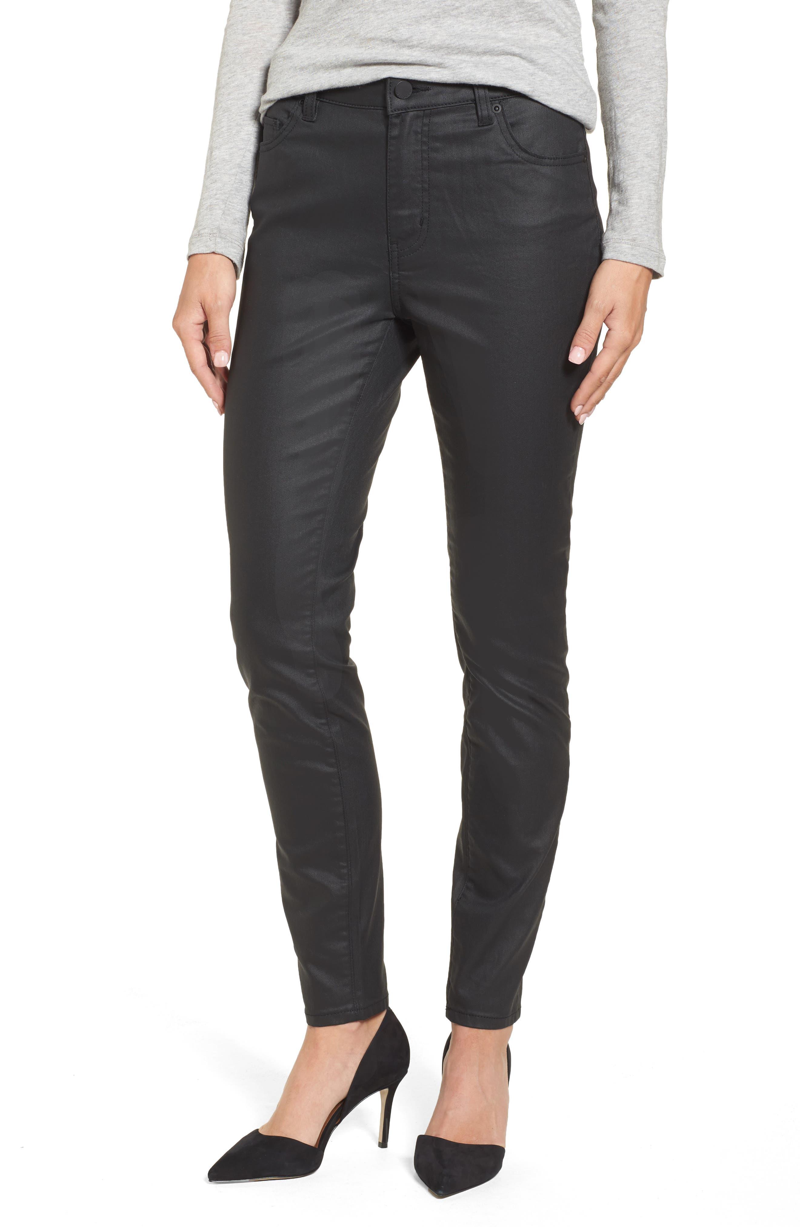 Coated Skinny Jeans,                             Main thumbnail 1, color,                             Black