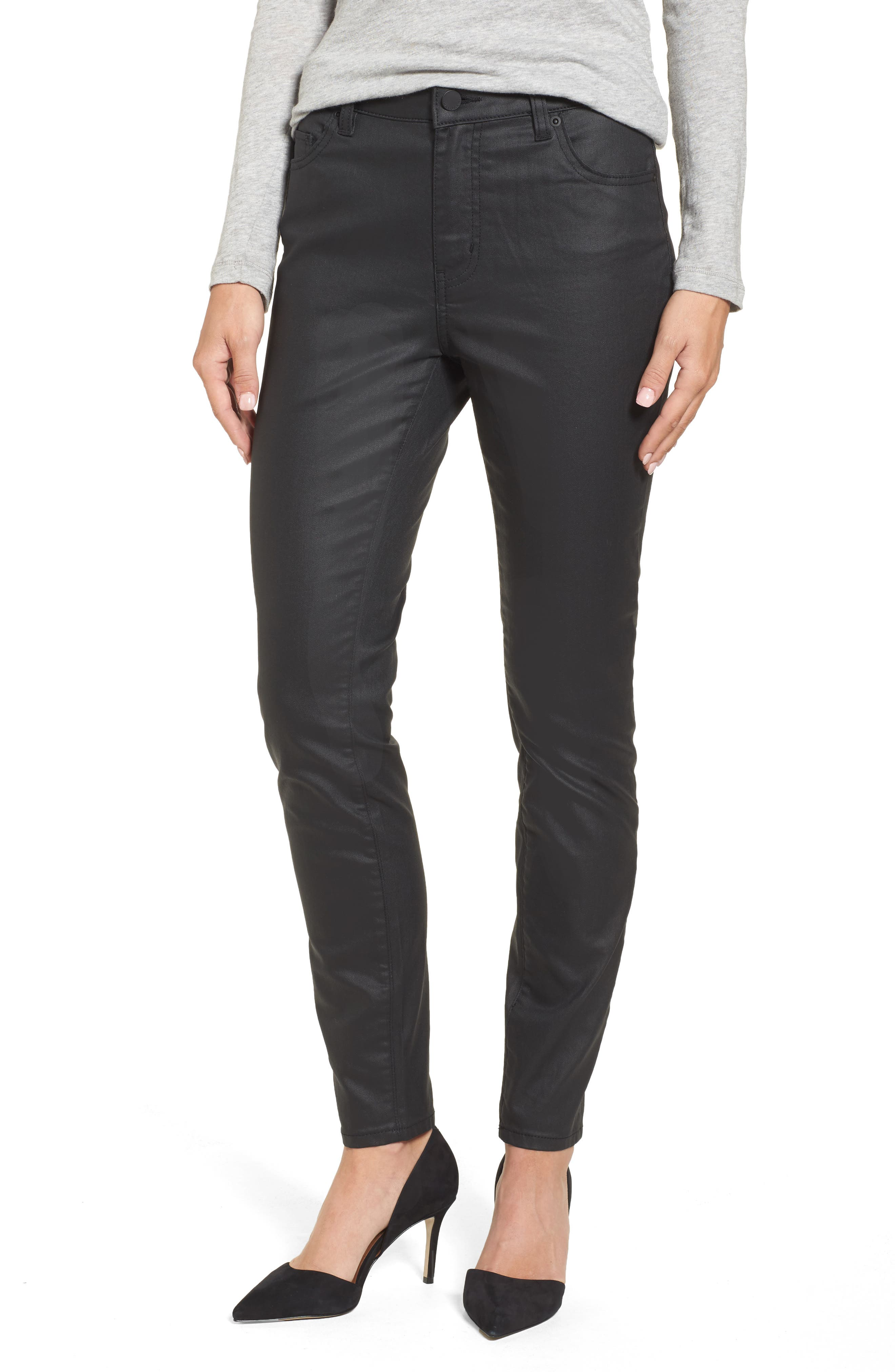 Coated Skinny Jeans,                         Main,                         color, Black
