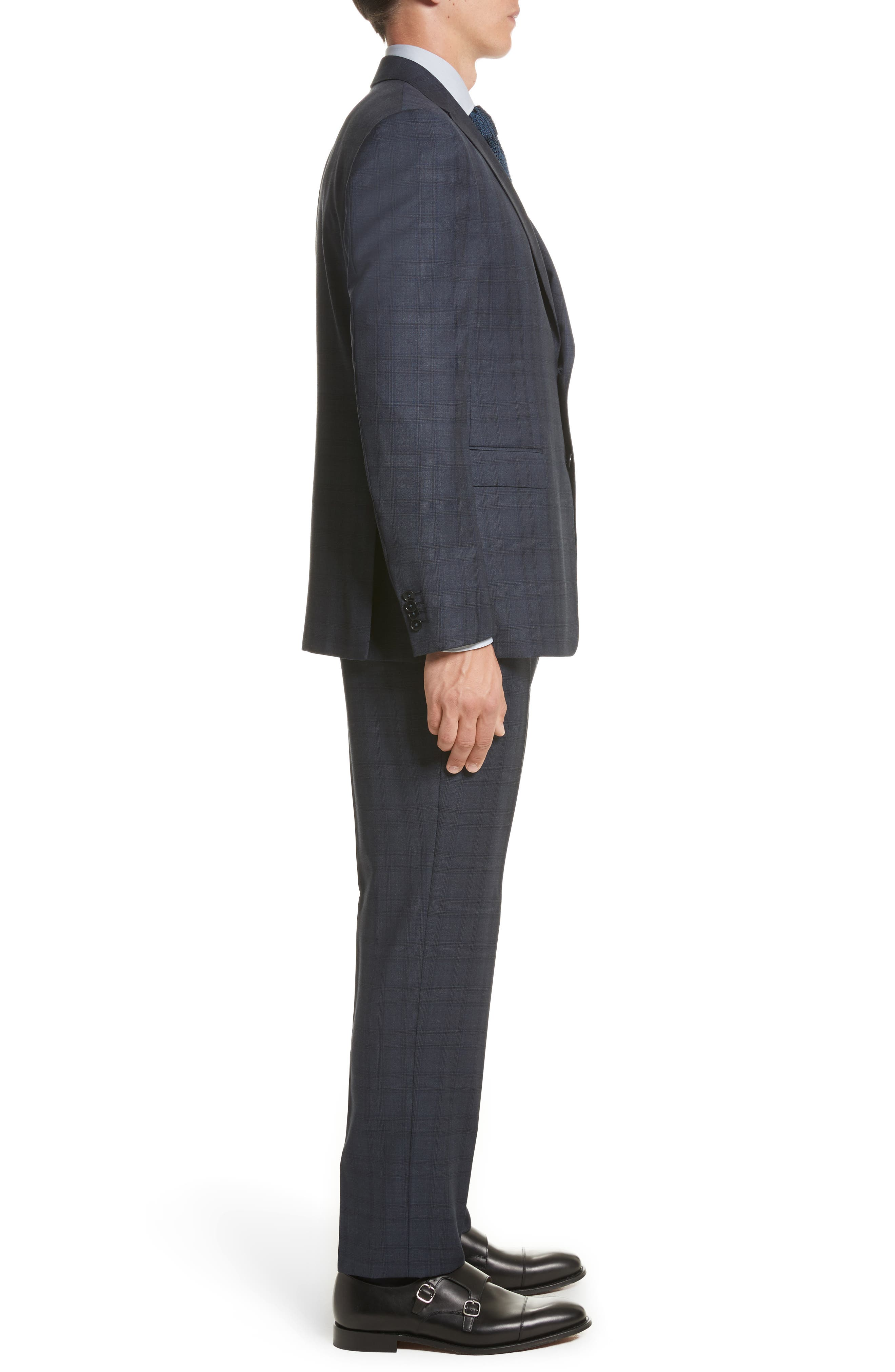 Classic Fit Check Wool Suit,                             Alternate thumbnail 3, color,                             Navy Check