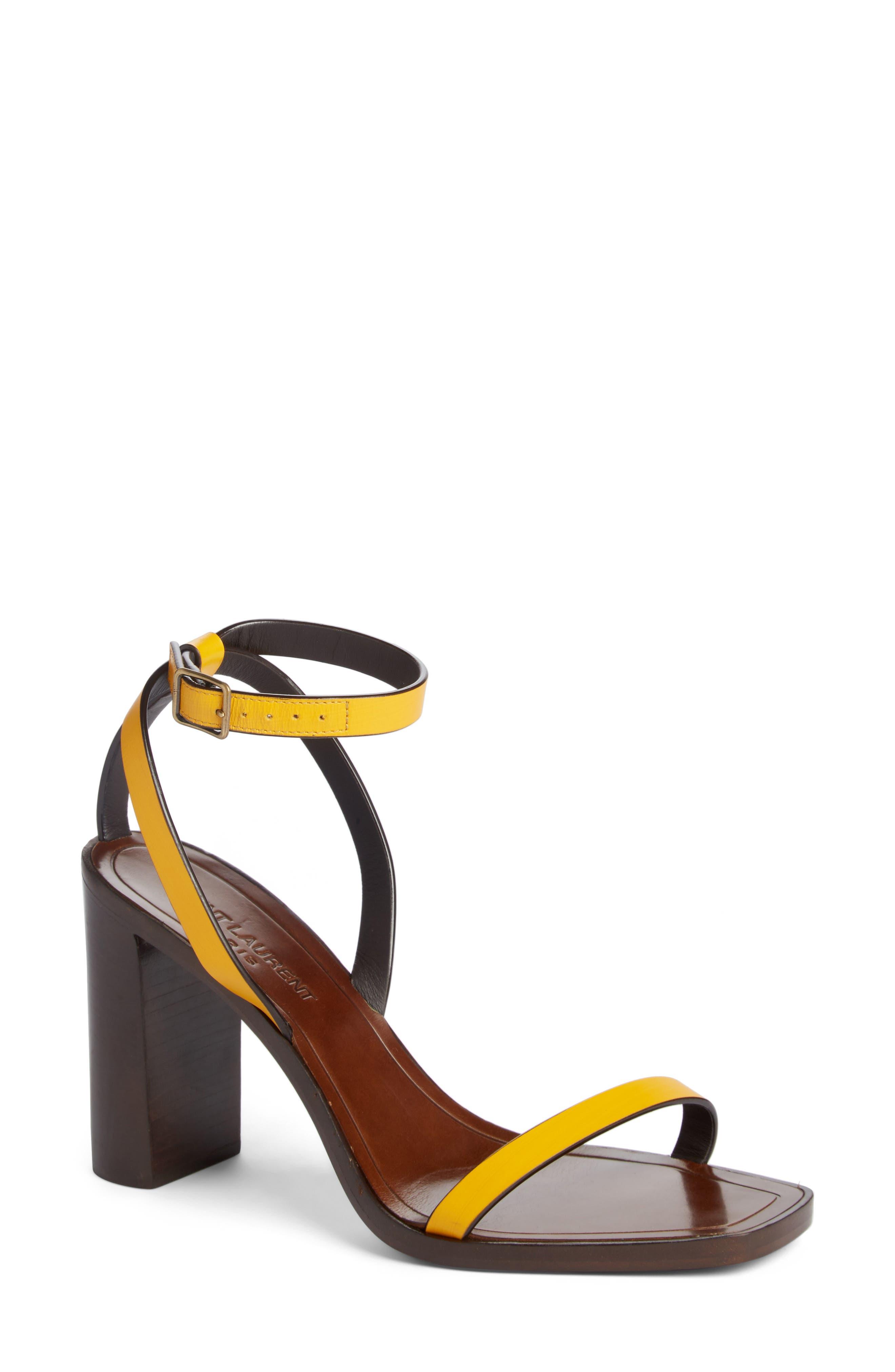 Loulou Ankle Strap Sandal,                             Main thumbnail 1, color,                             Black/ Yellow