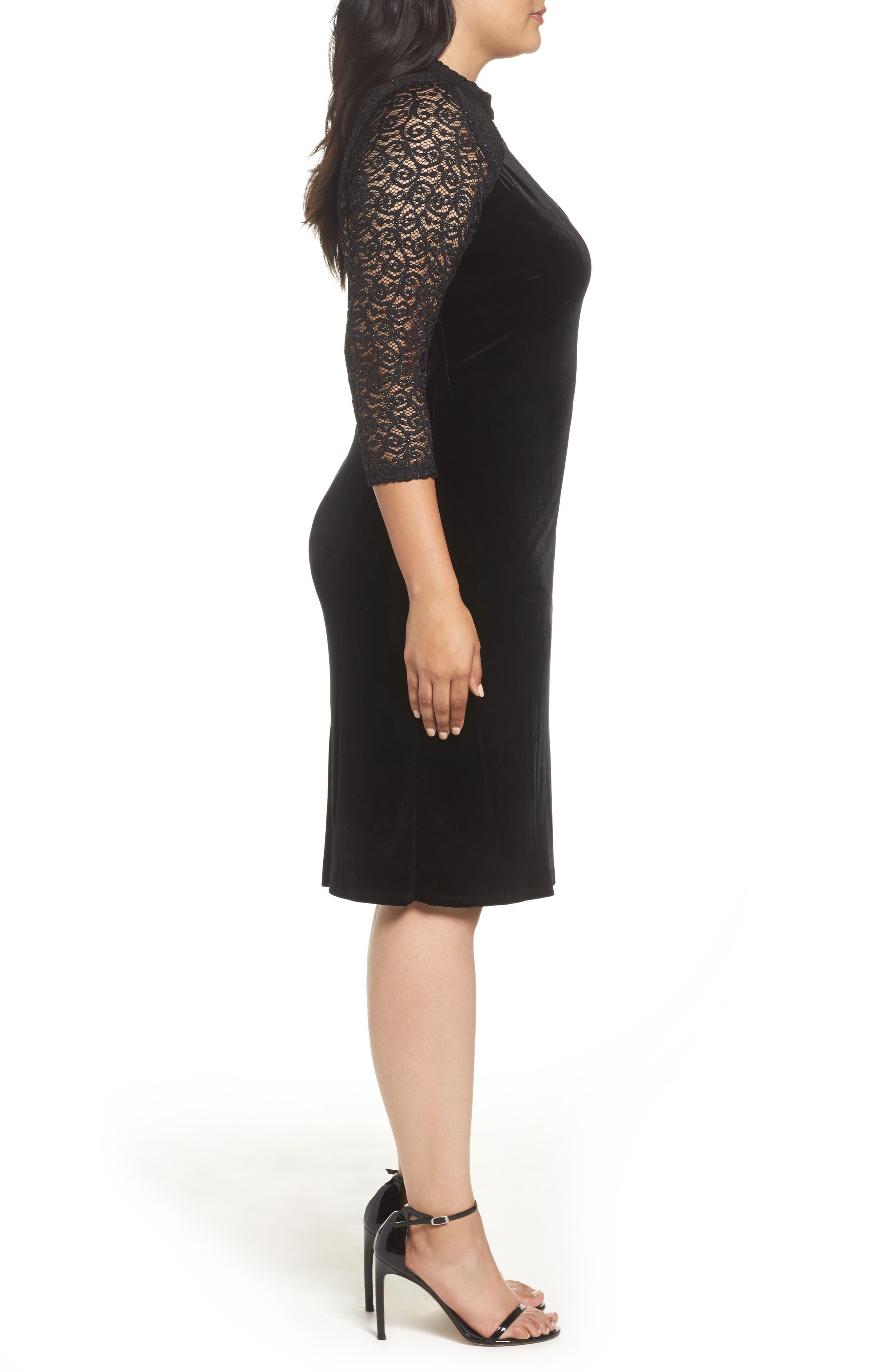 Velvet & Glitter Lace Sheath Dress,                             Alternate thumbnail 3, color,                             Black