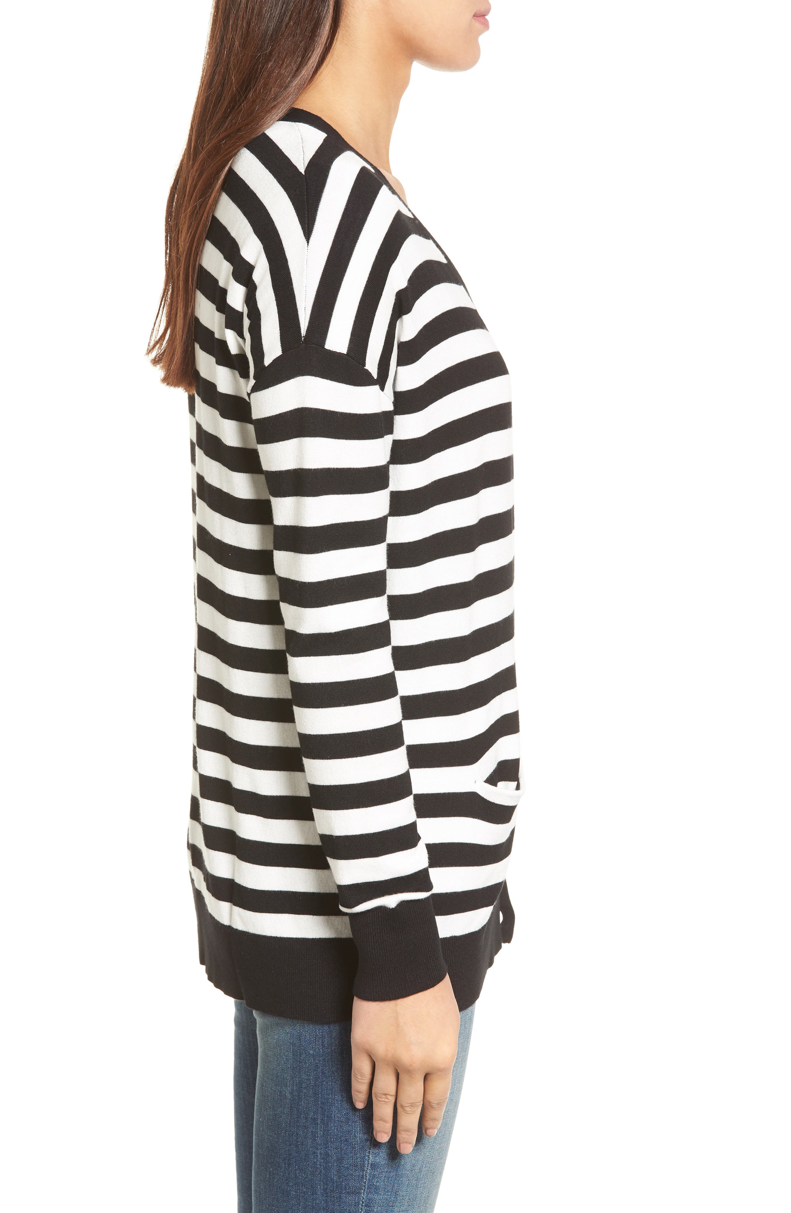 Relaxed Pocket Cardigan,                             Alternate thumbnail 4, color,                             Black- Ivory Stripe