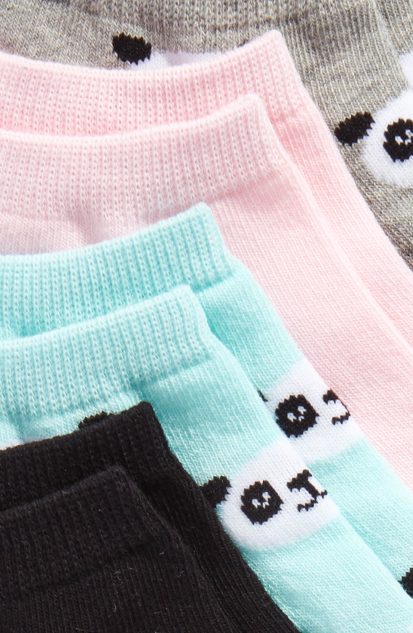 Panda Face 4-Pack Ankle Socks,                             Alternate thumbnail 2, color,                             Grey Heather