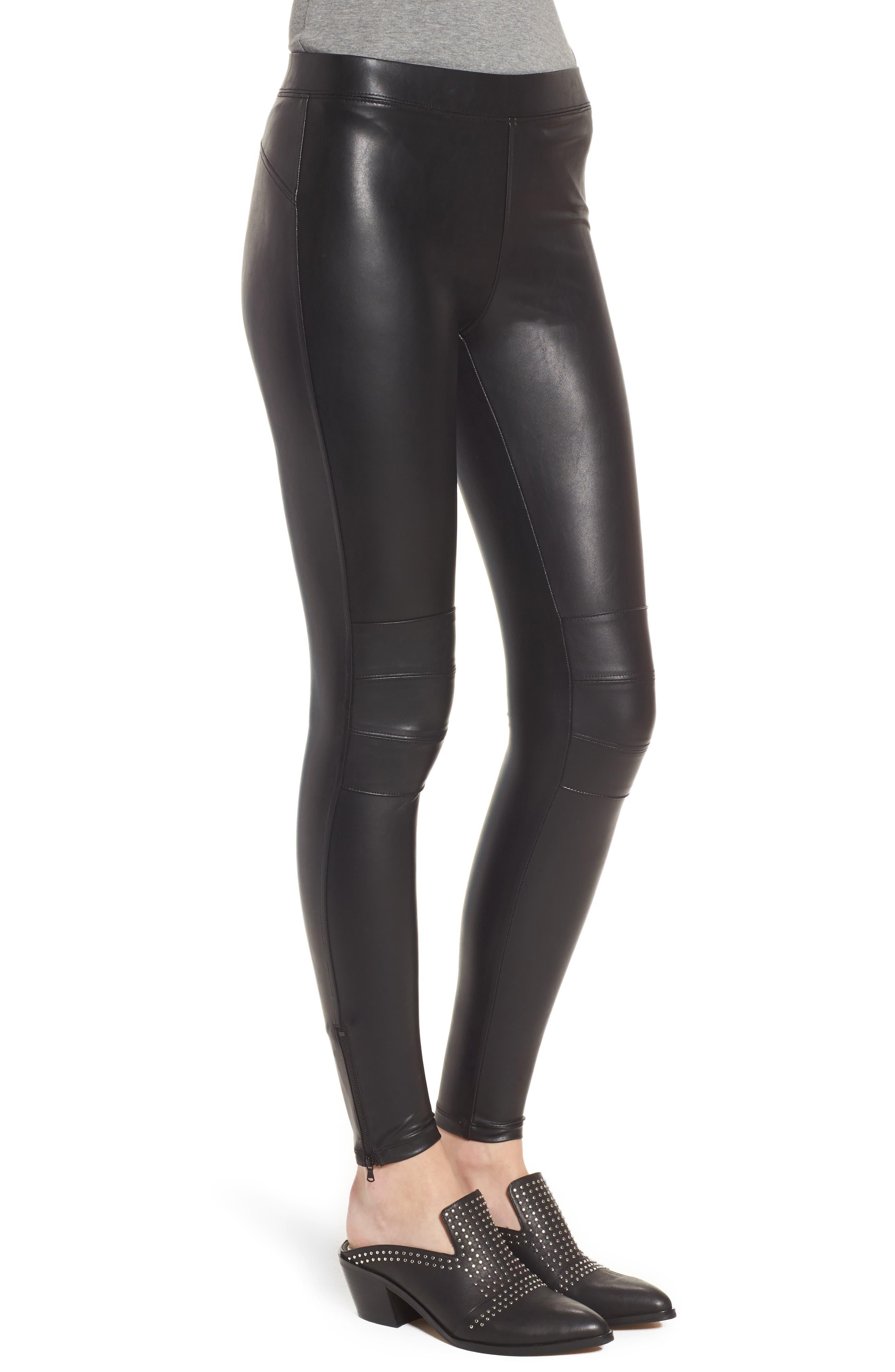 Zip Cuff Faux Leather Moto Leggings,                             Alternate thumbnail 3, color,                             Black