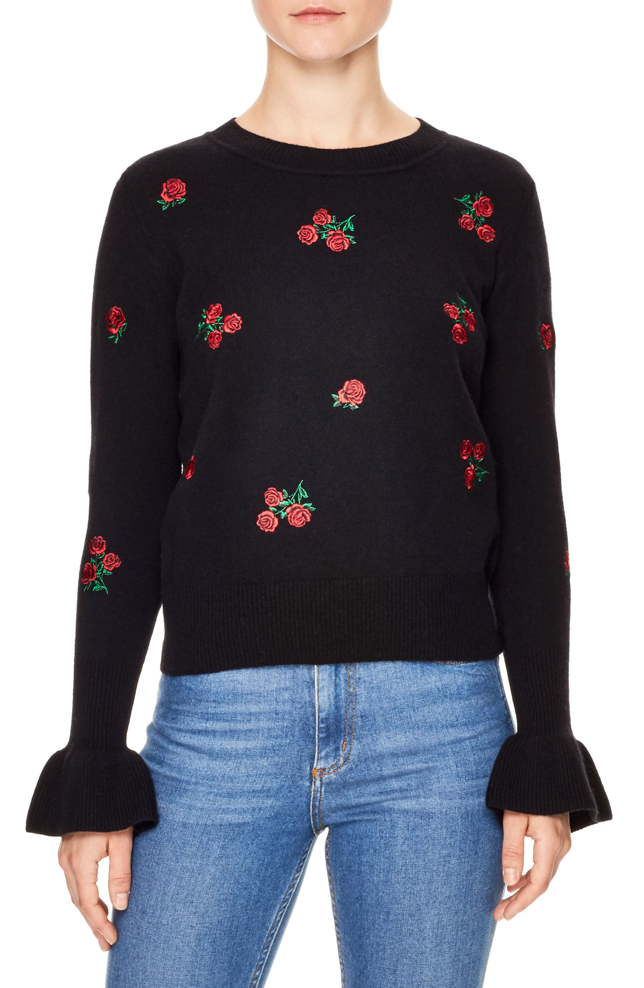 Ingrid Embroidered Wool Sweater,                             Main thumbnail 1, color,                             Black