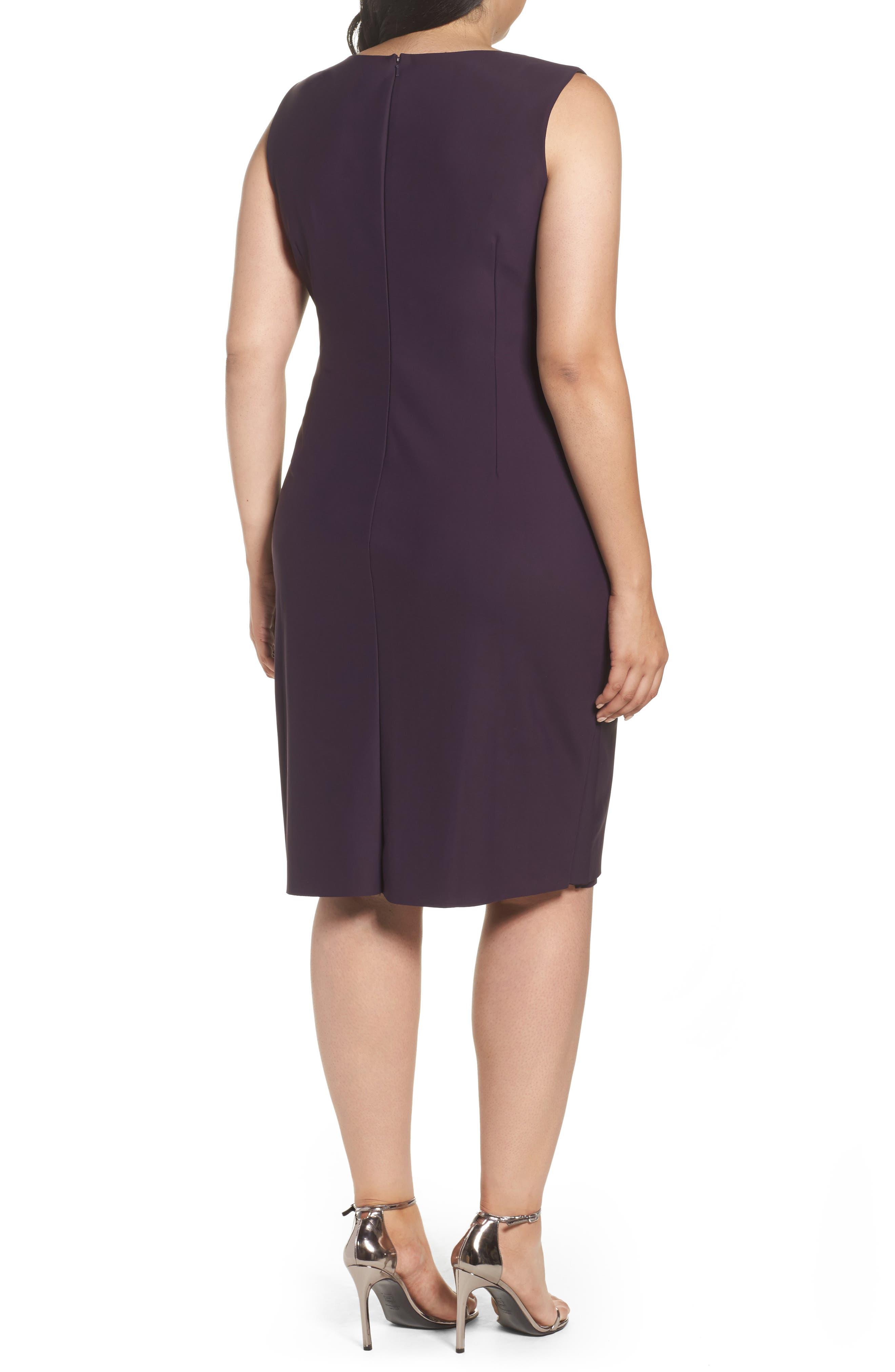 Alternate Image 2  - Alex Evenings Embellished Square Neck Sleeveless Sheath Dress (Plus Size)