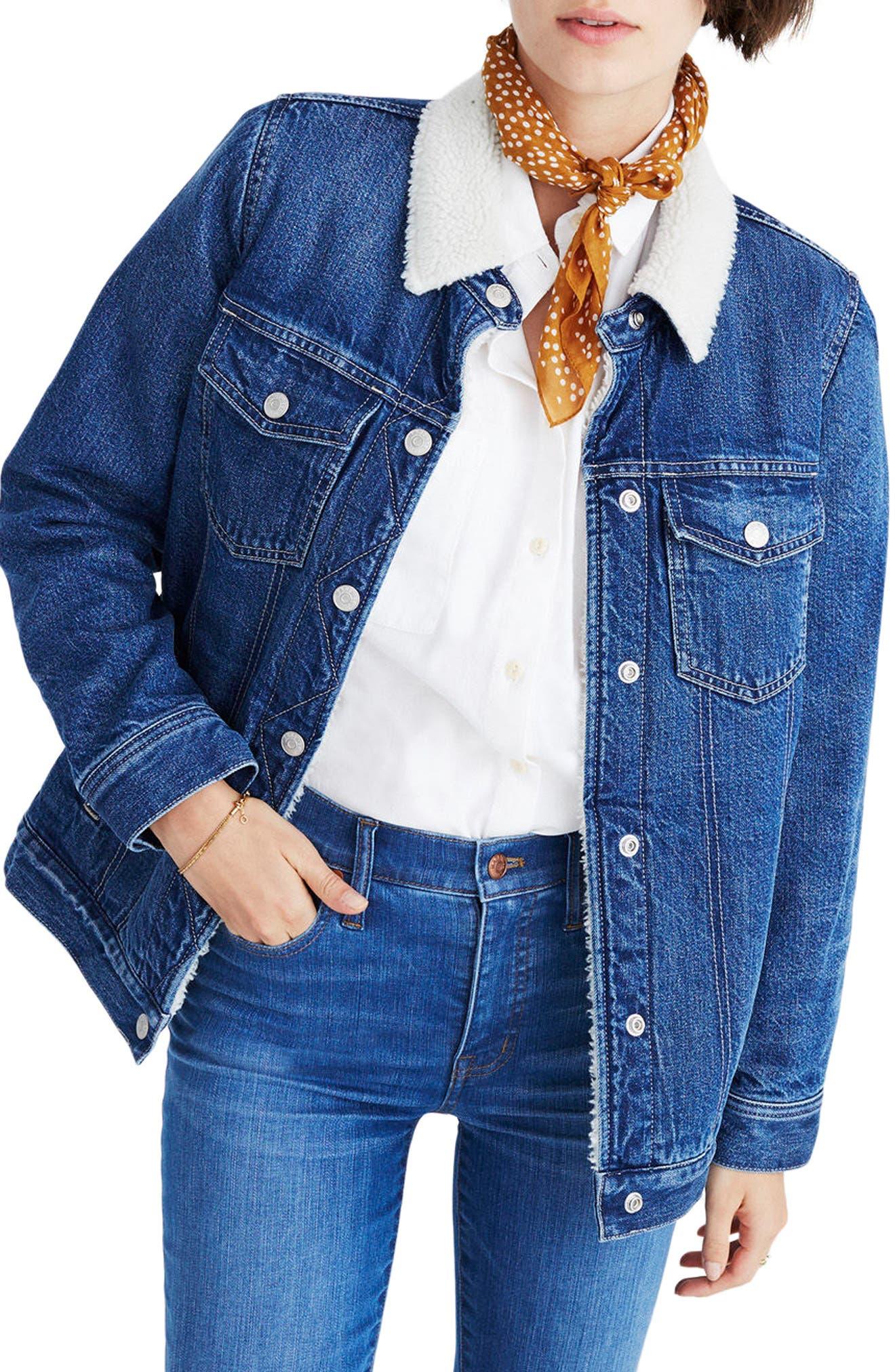 Oversize Jean Jacket,                             Main thumbnail 1, color,                             Montrose Wash