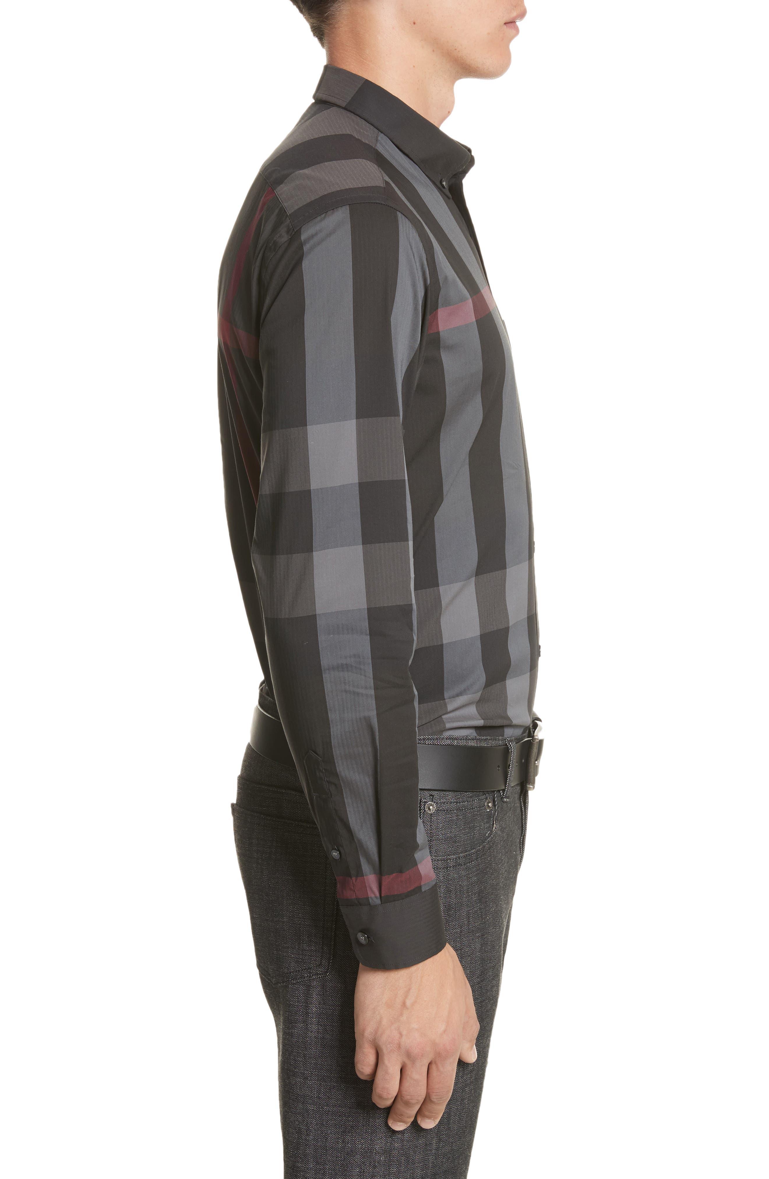 Thornaby Slim Fit Plaid Sportshirt,                             Alternate thumbnail 4, color,                             Charcoal