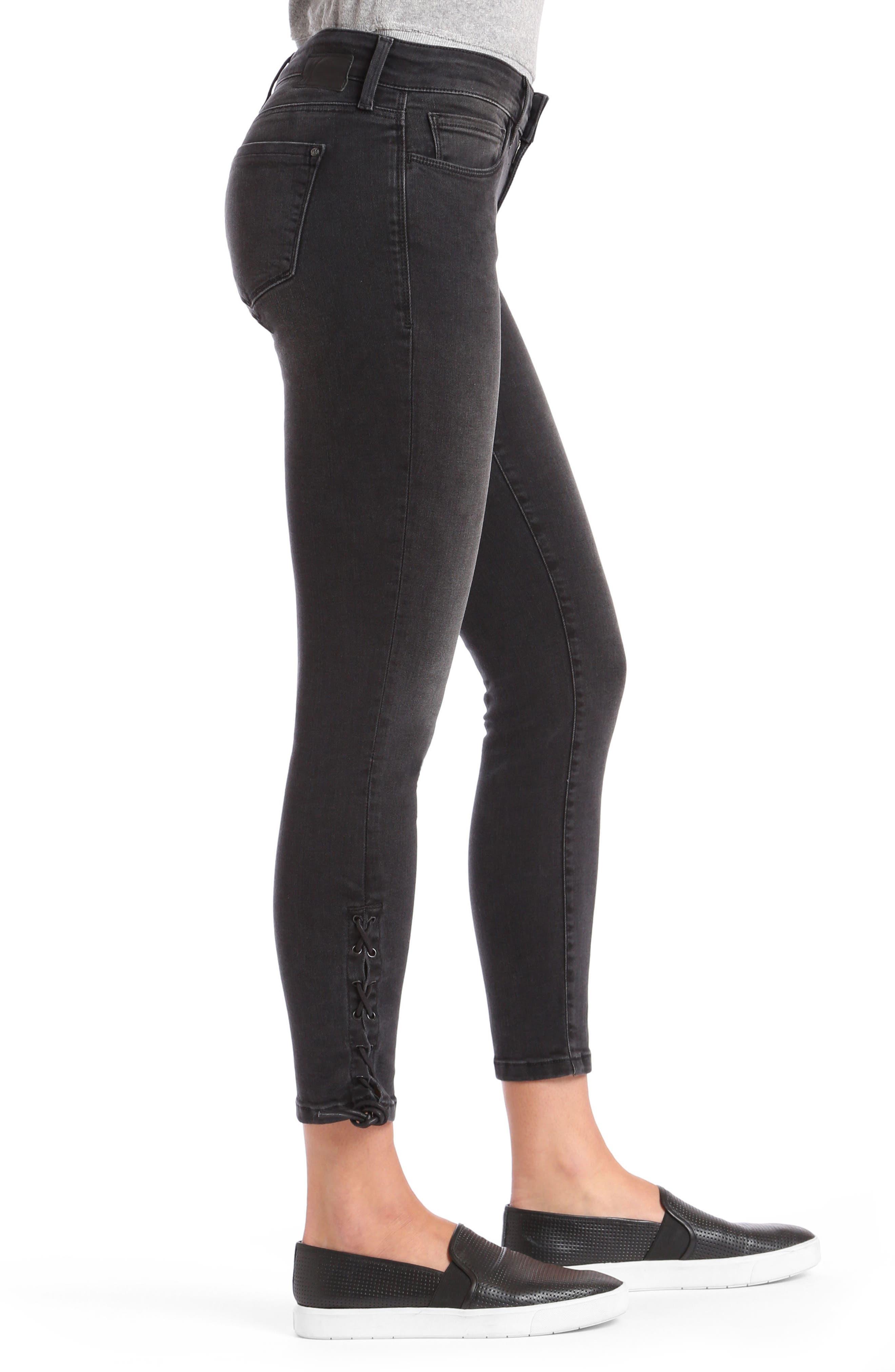 Alternate Image 4  - Mavi Adriana Lace Up Ankle Super Skinny Jeans (Smoke Lace)