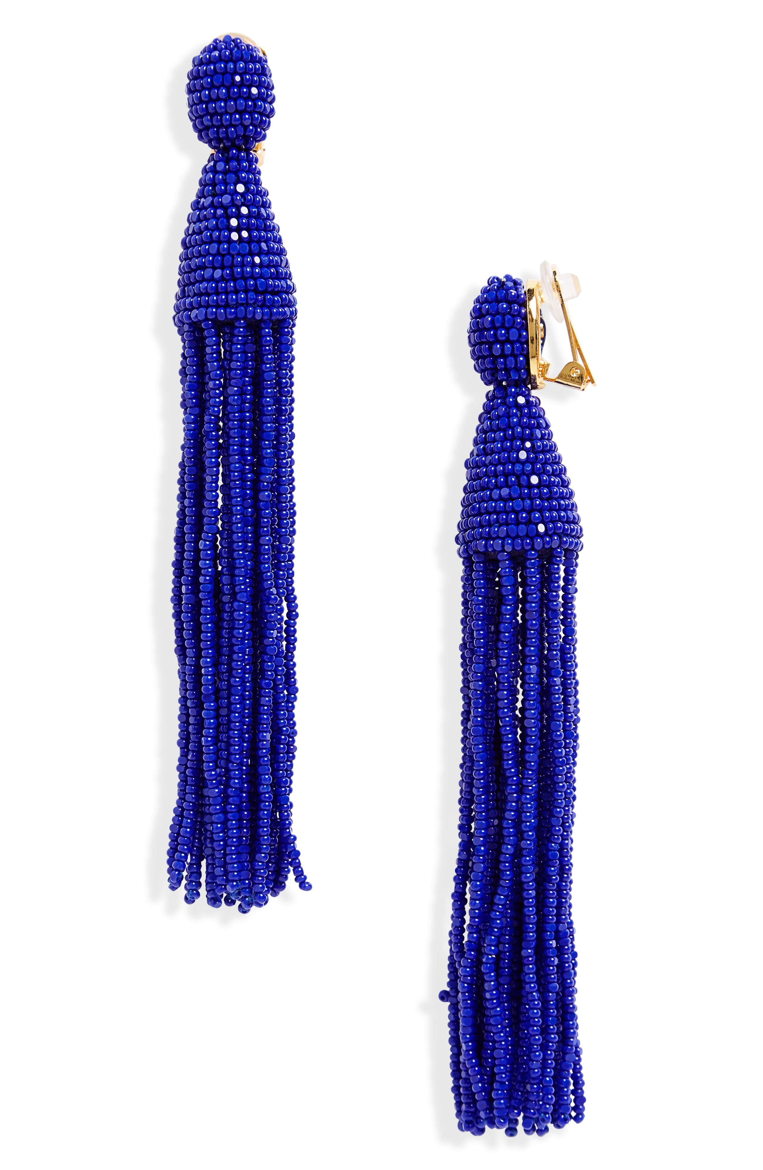 Oscar de la Renta Long Tassel Drop Clip Earrings