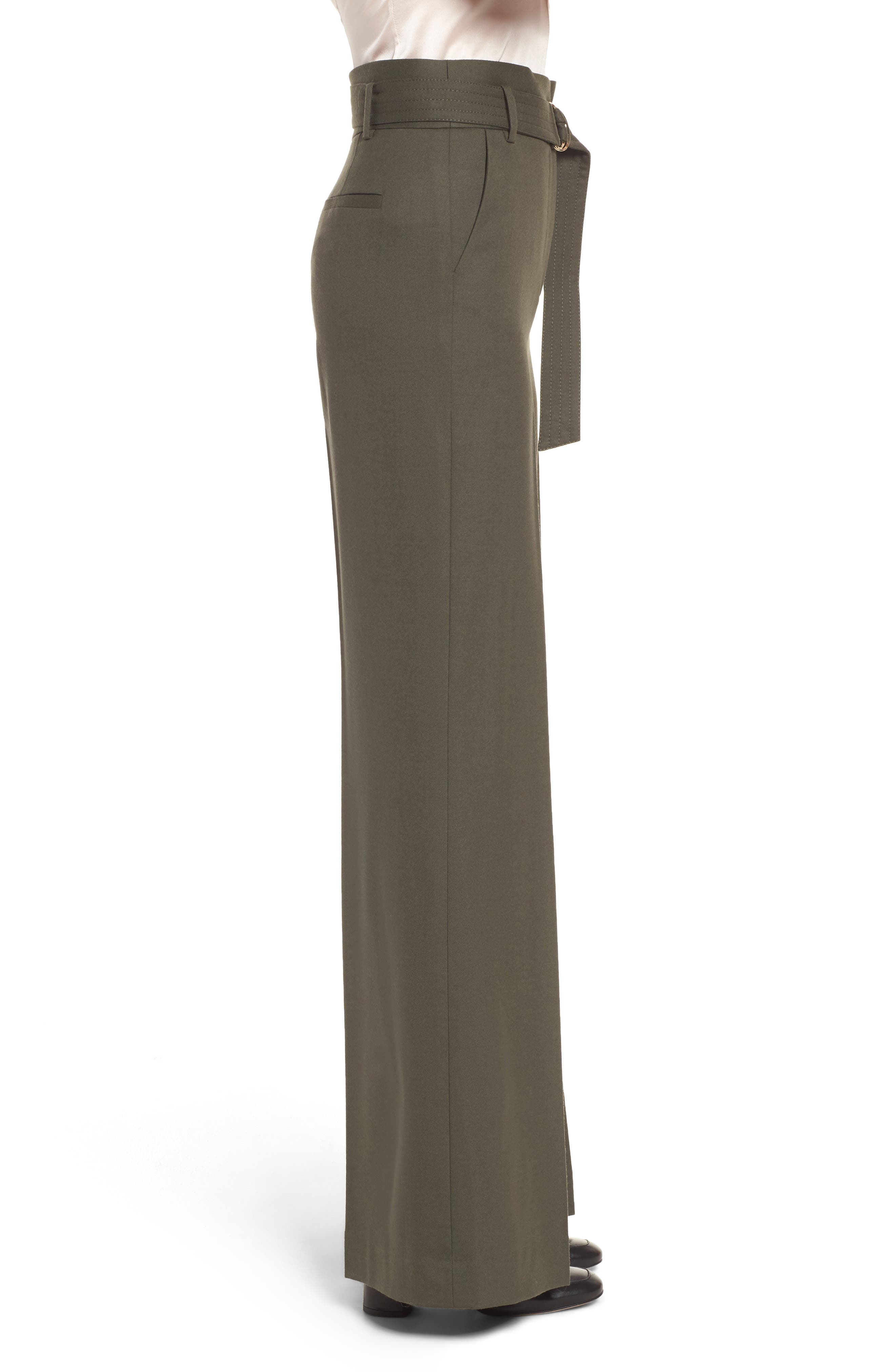 Wide Leg Stretch Wool Pants,                             Alternate thumbnail 3, color,                             Olive Tuscan