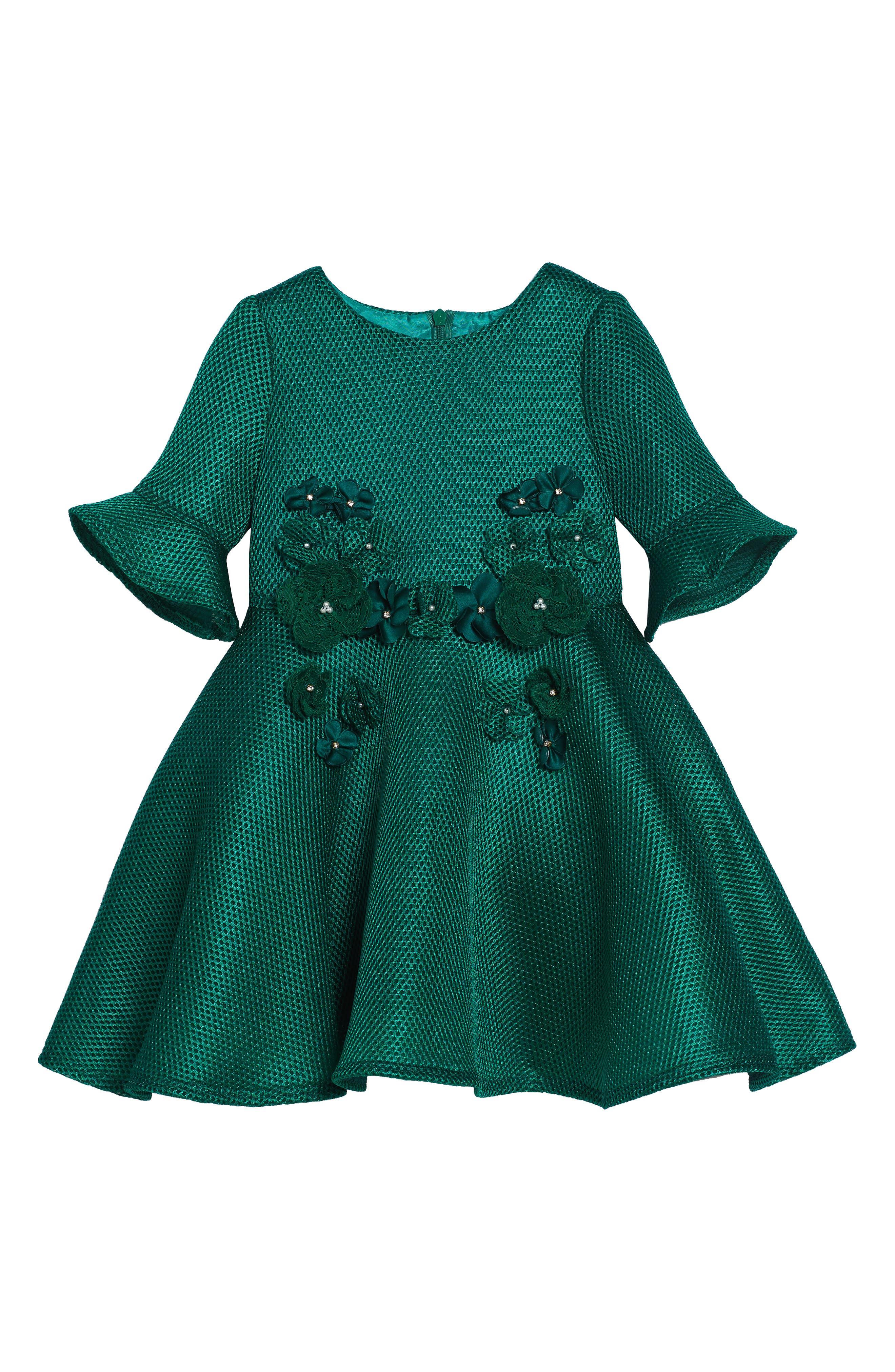 David Charles Techno Scuba Mesh Dress (Toddler Girls & Little Girls)