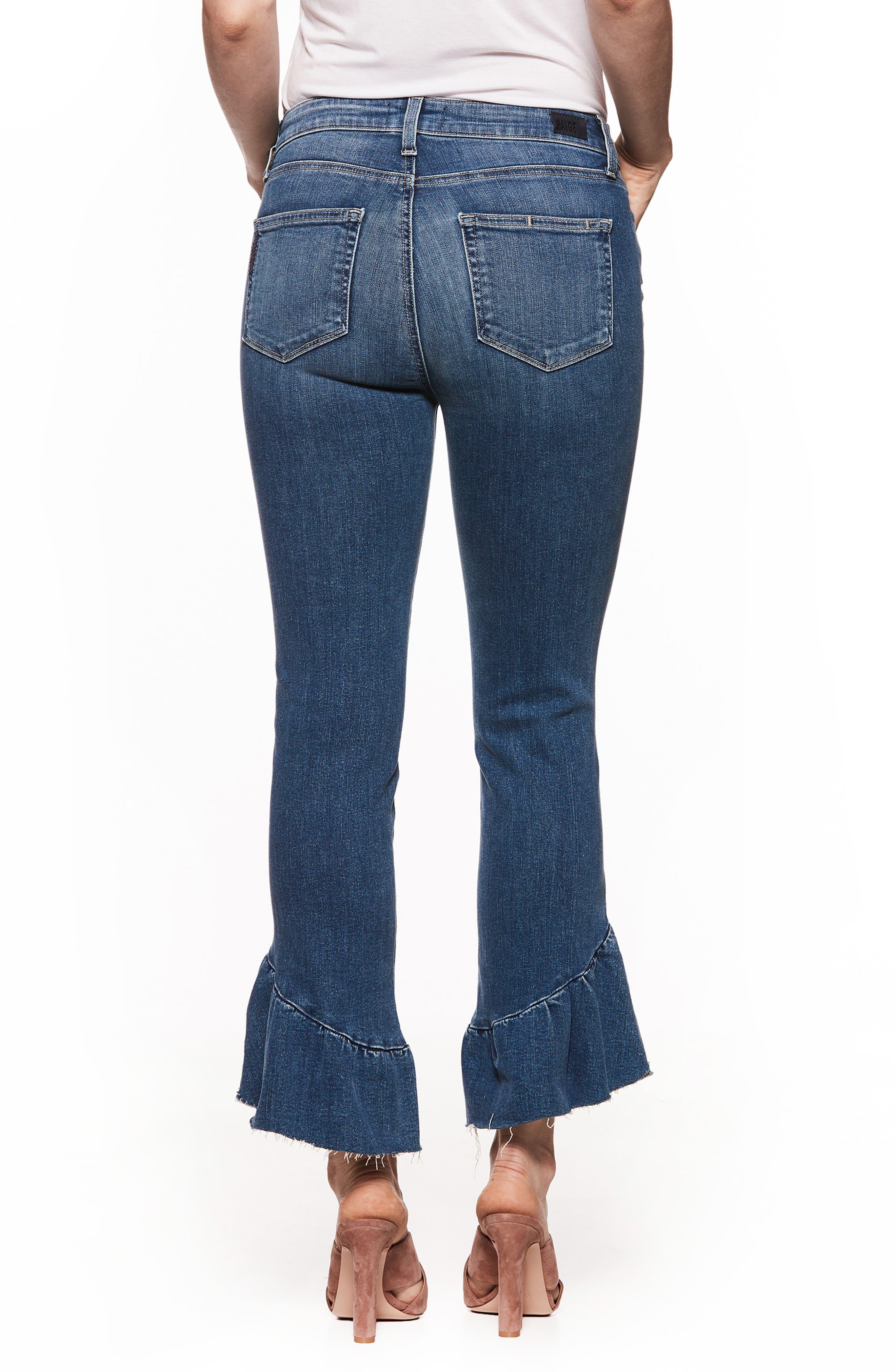 Alternate Image 3  - PAIGE Floral Ruffle Hem Straight Leg Jeans (Barkley)