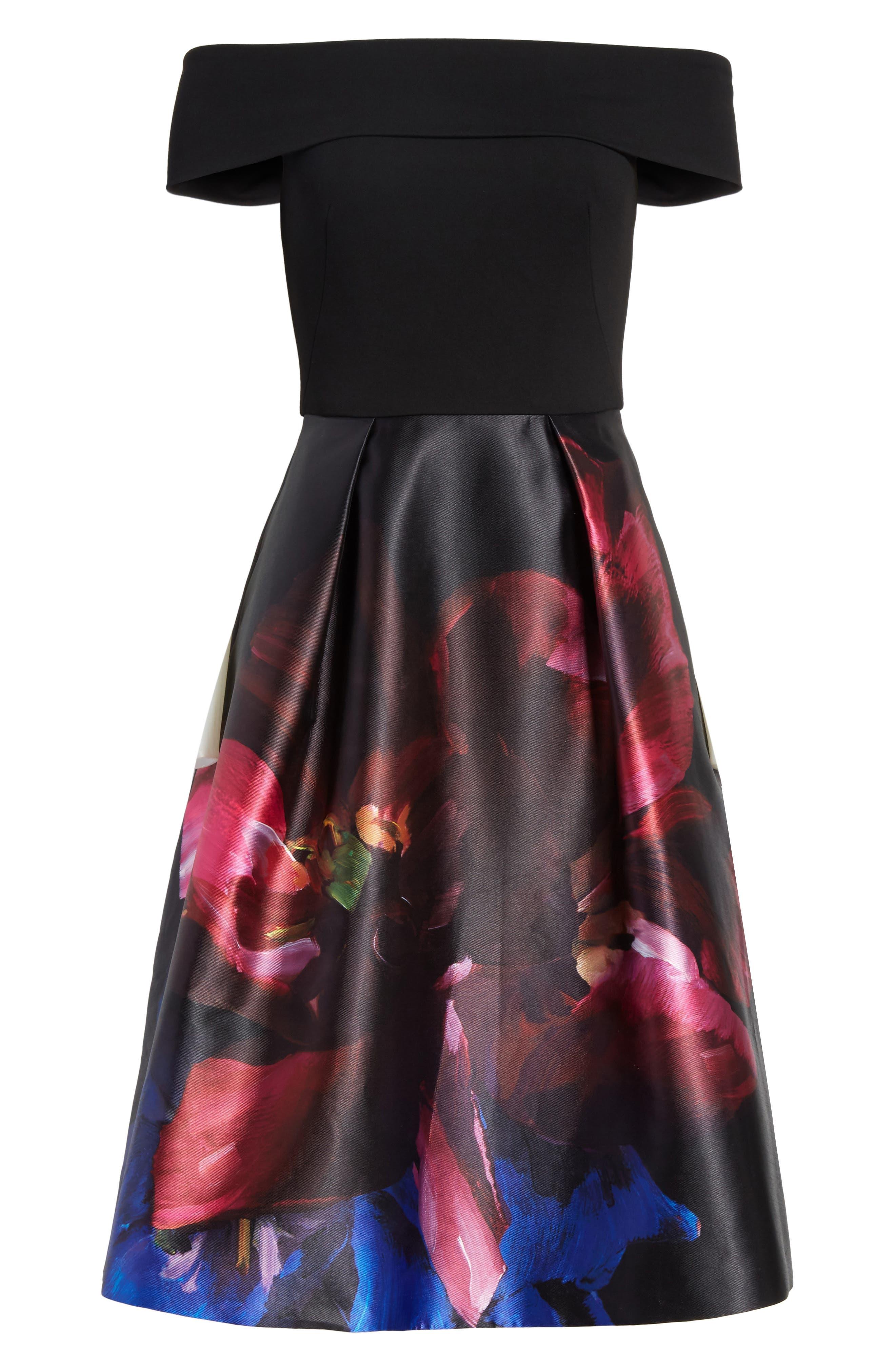 Kimey Impressionist Fit & Flare Dress,                             Alternate thumbnail 6, color,                             Black