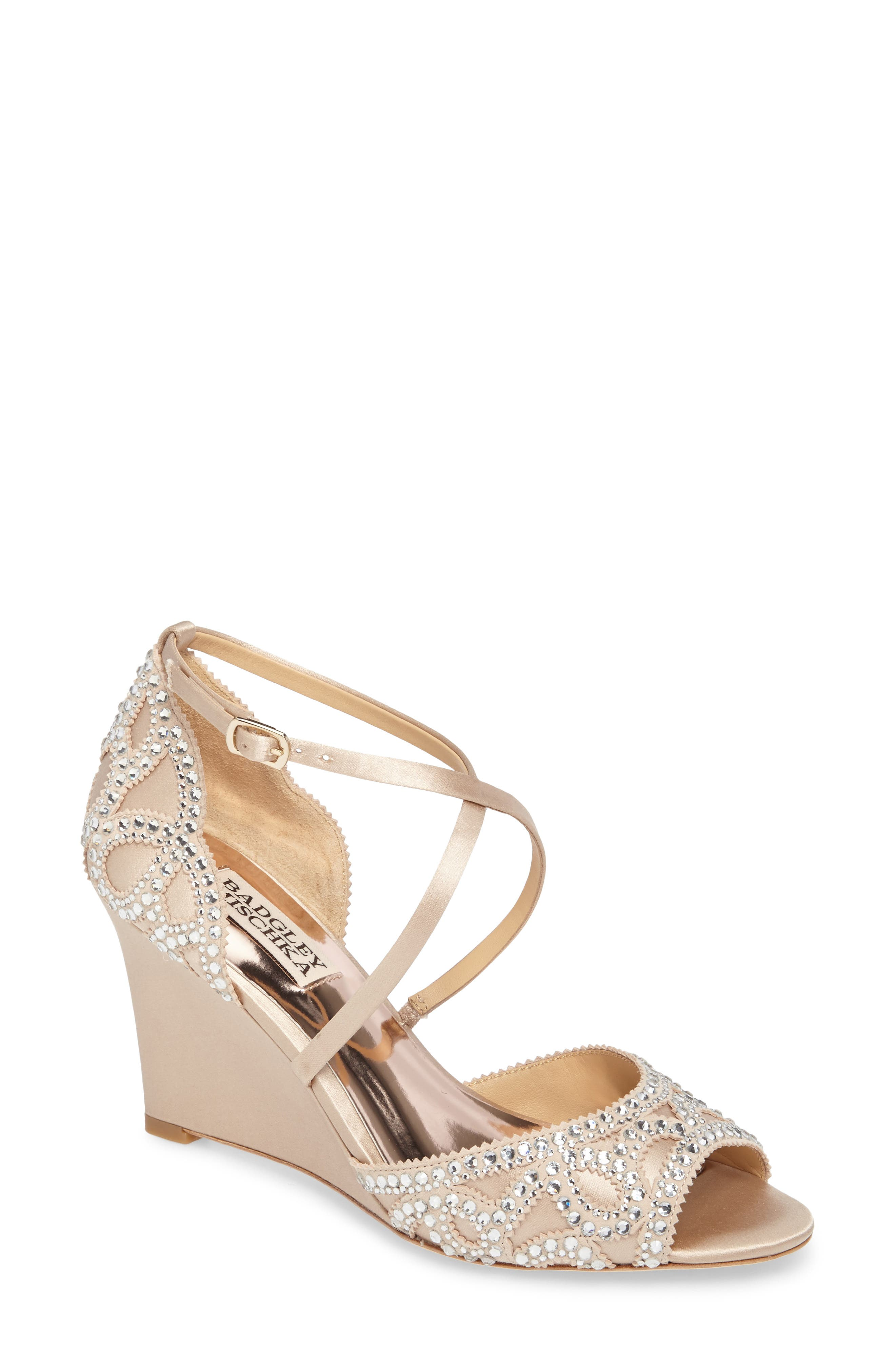 Winter Strappy Wedge Pump,                             Main thumbnail 1, color,                             Nude Satin