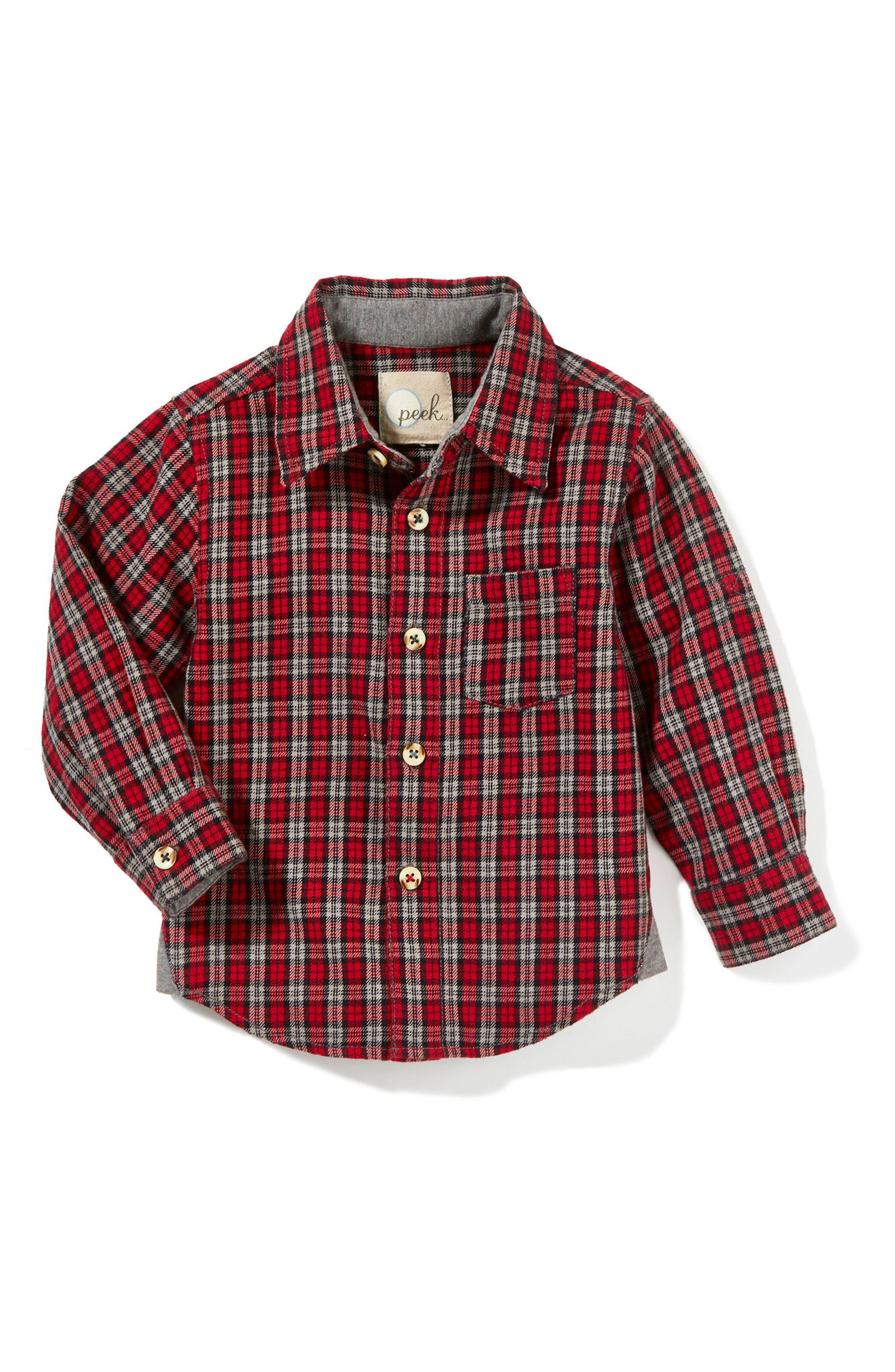 Eddie Plaid Shirt,                             Main thumbnail 1, color,                             Red