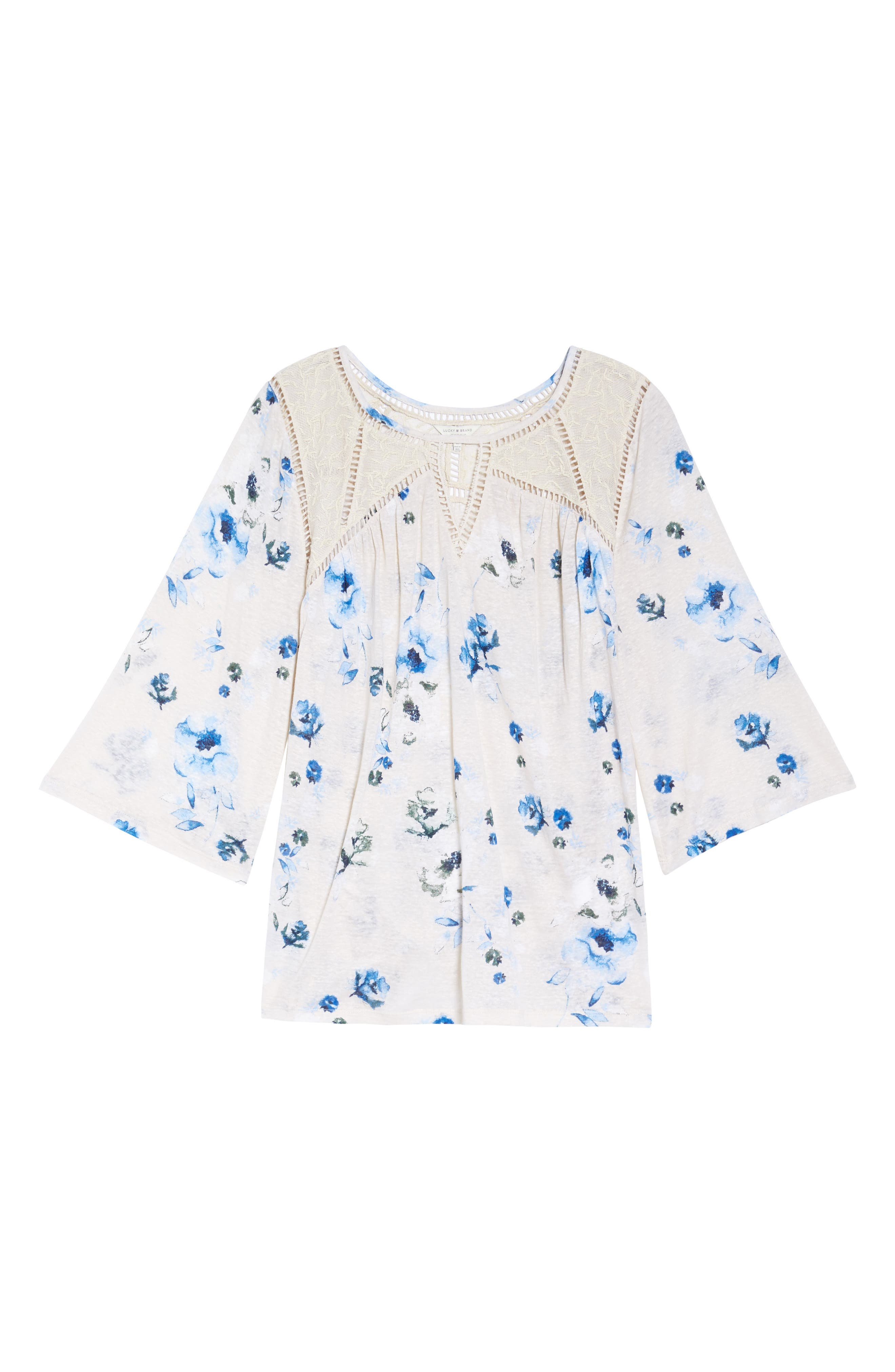 Alternate Image 6  - Lucky Brand Lace Yoke Floral Peasant Top (Plus Size)
