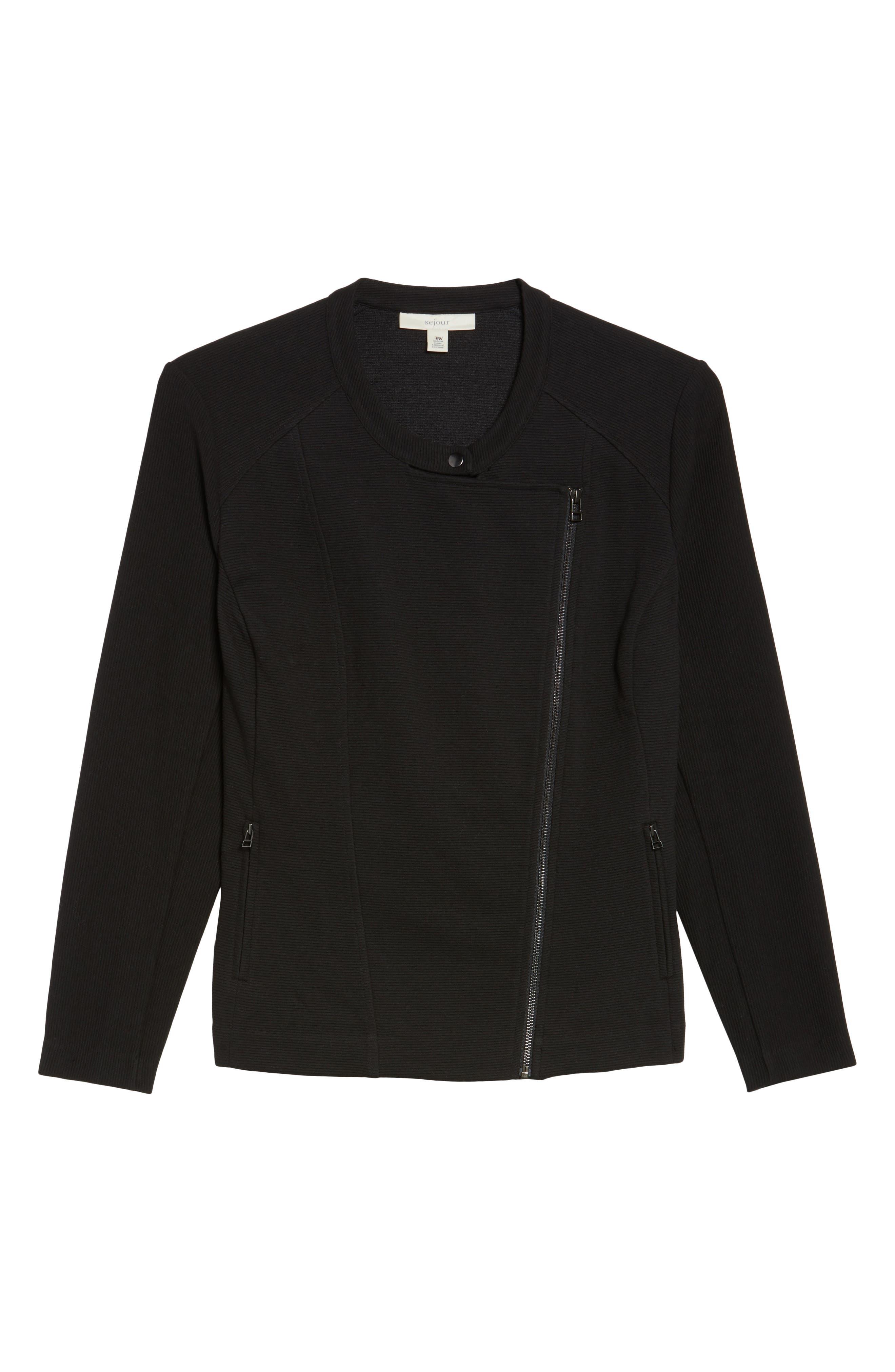 Ottoman Moto Jacket,                             Alternate thumbnail 6, color,                             Black