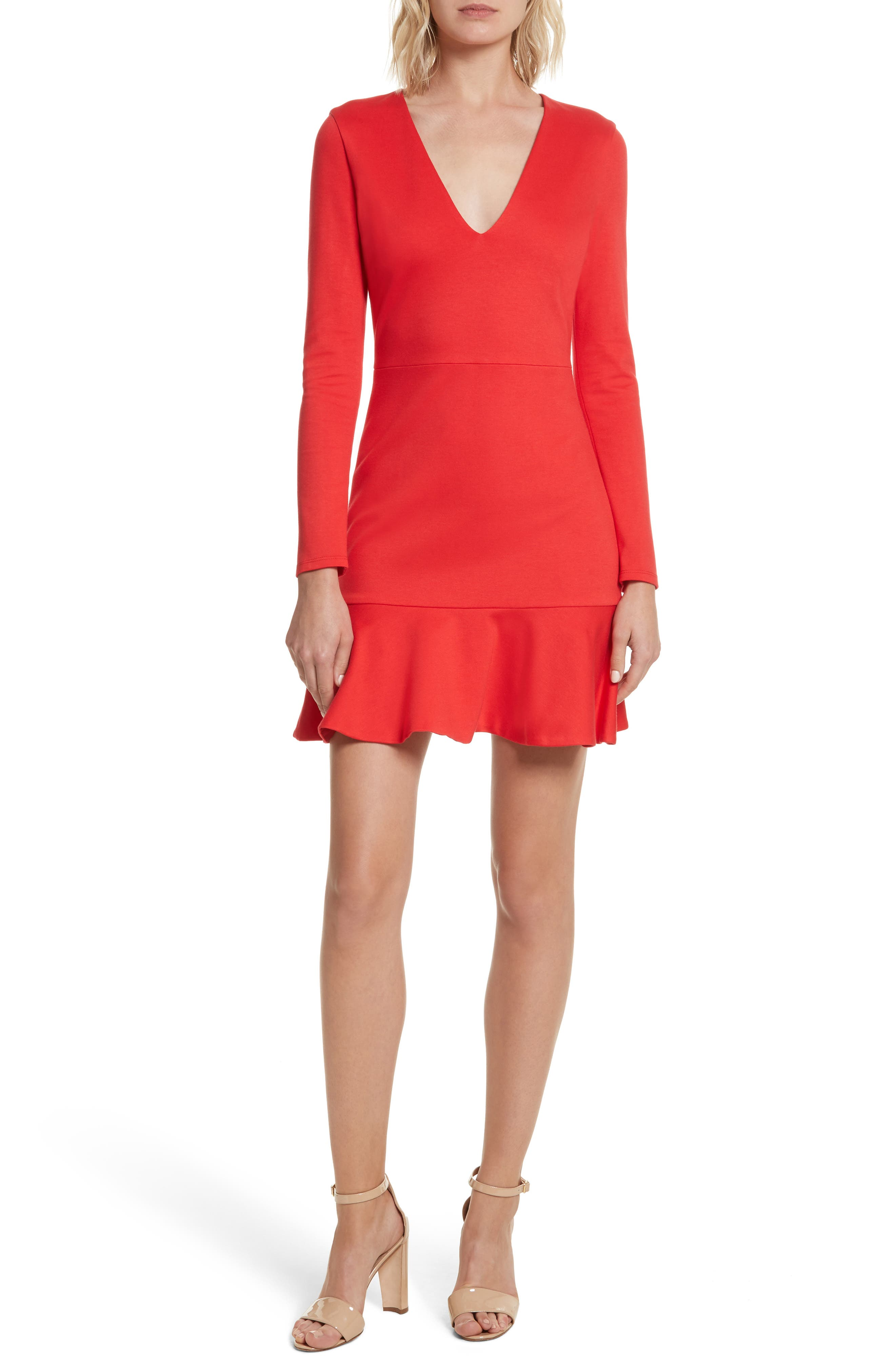 Alice + Olivia Francine Ruffle Hem Fit & Flare Dress