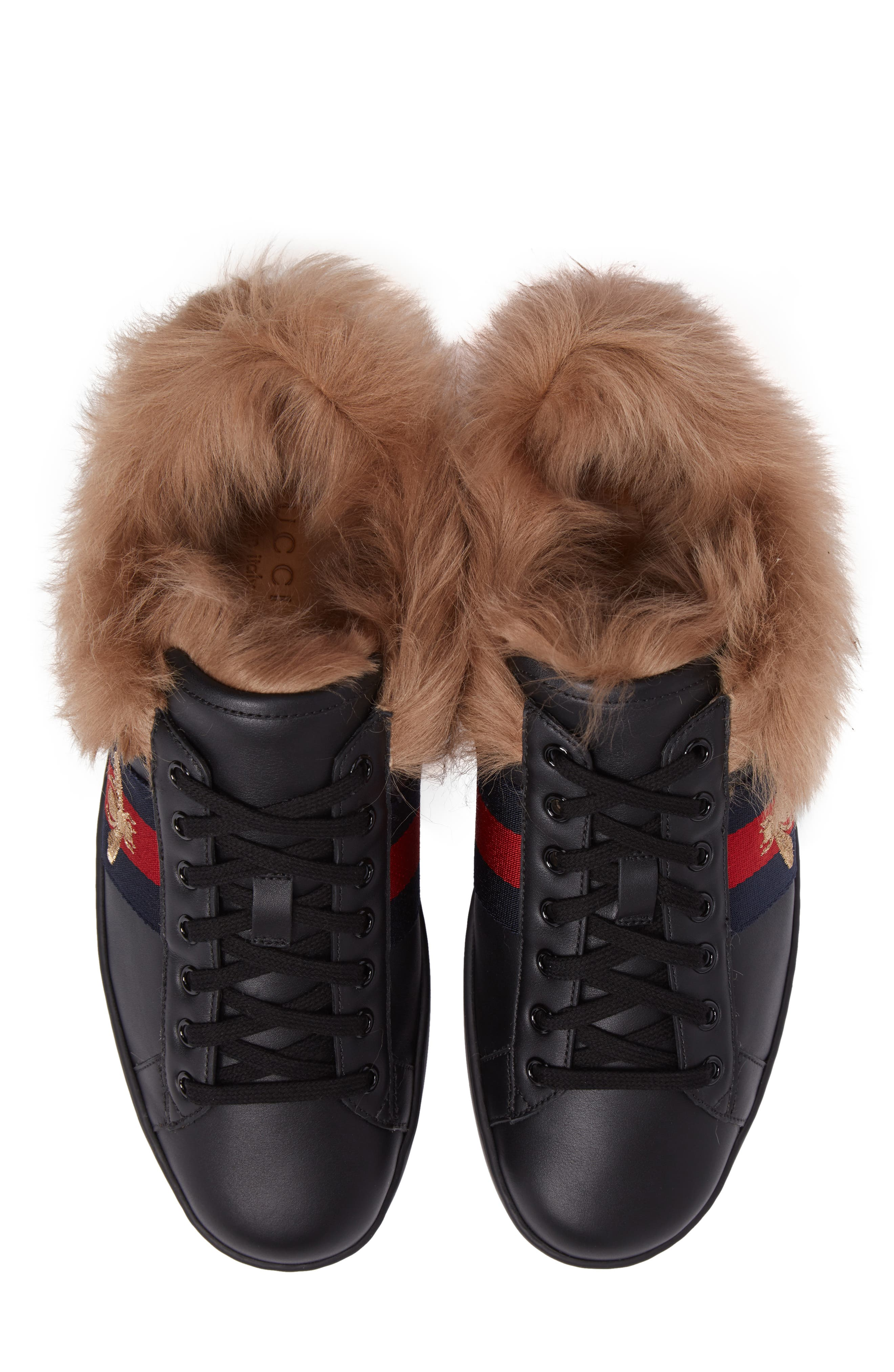 Alternate Image 5  - Gucci New Ace Genuine Shearling Bee Sneaker (Men)