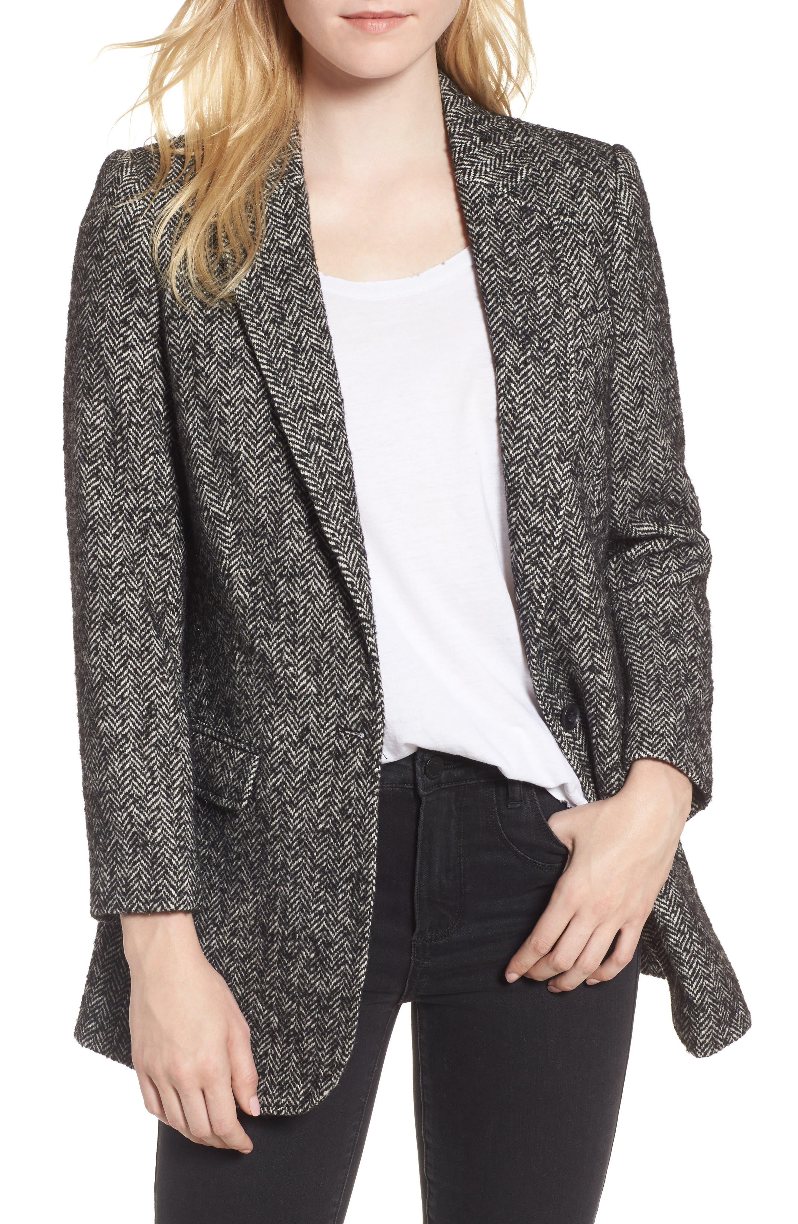 Merilee Jacket,                         Main,                         color, Black/ Cream