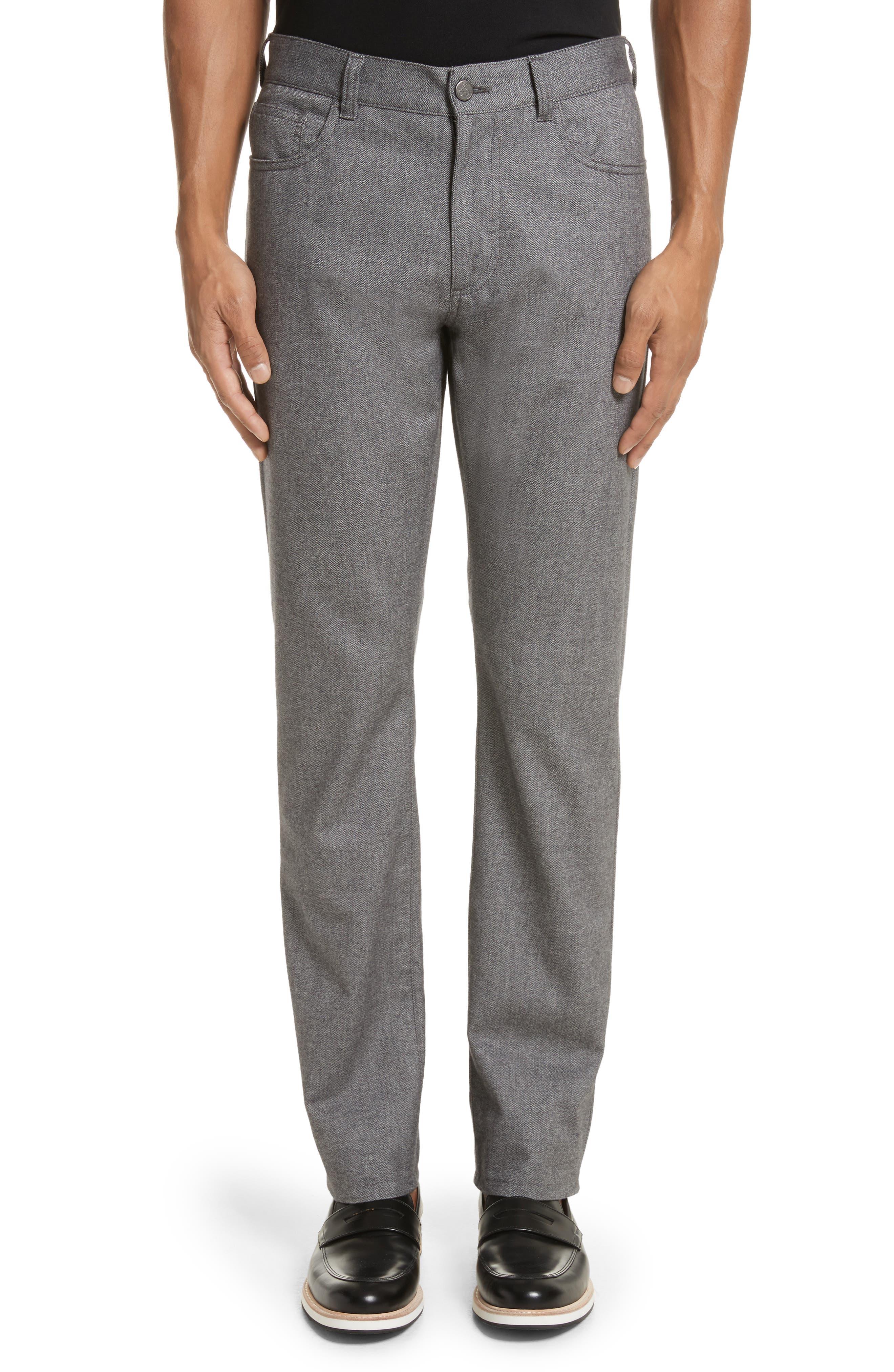 Regular Fit Herringbone 5-Pocket Pants,                         Main,                         color, Light Grey