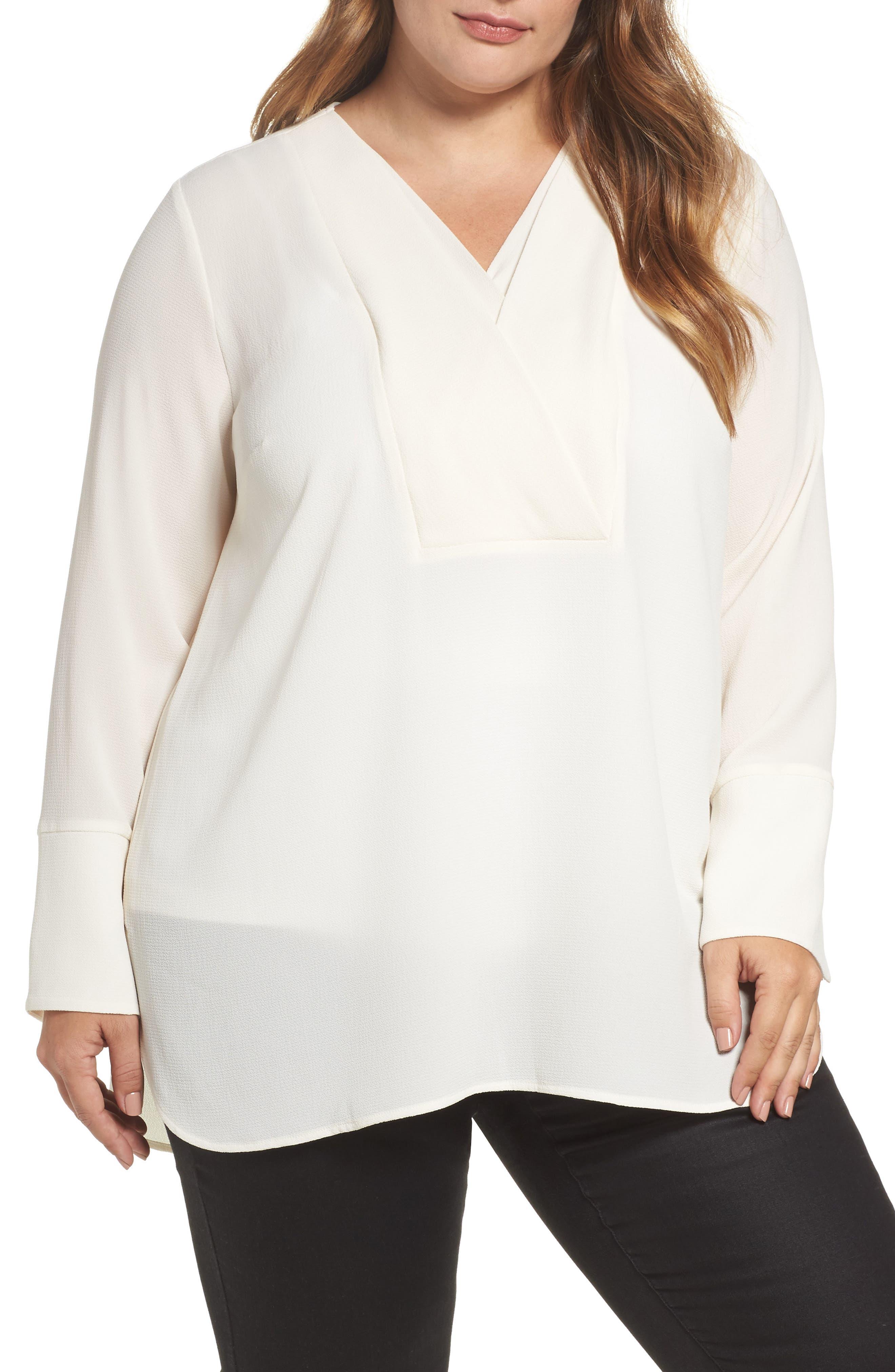 Double V-Neck Blouse,                         Main,                         color, Antique White