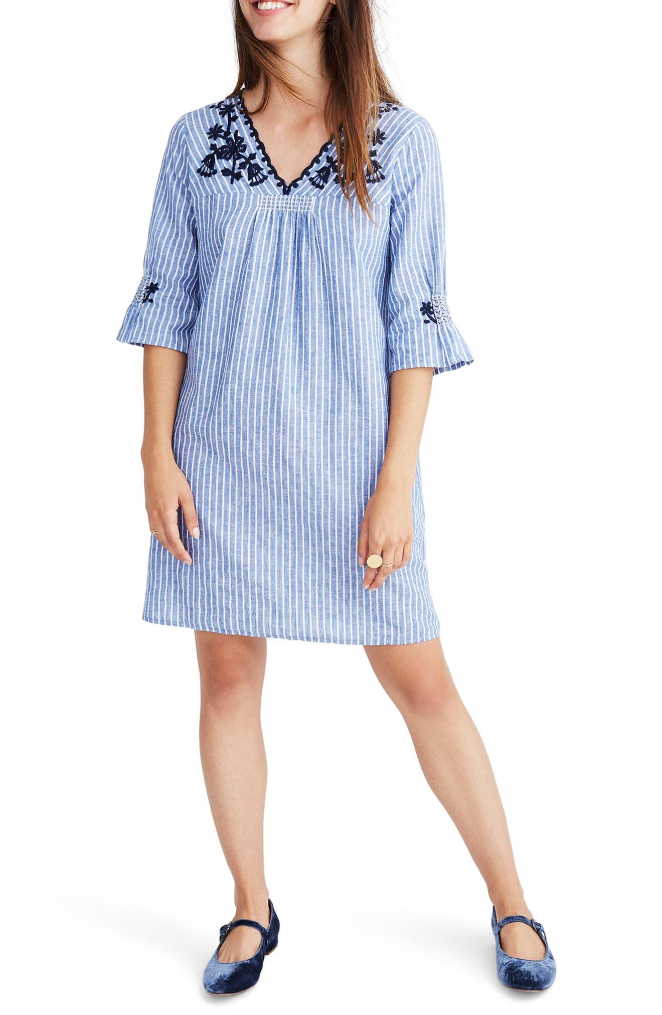 Breeze Embroidered Shift Dress,                         Main,                         color, Brilliant Royal