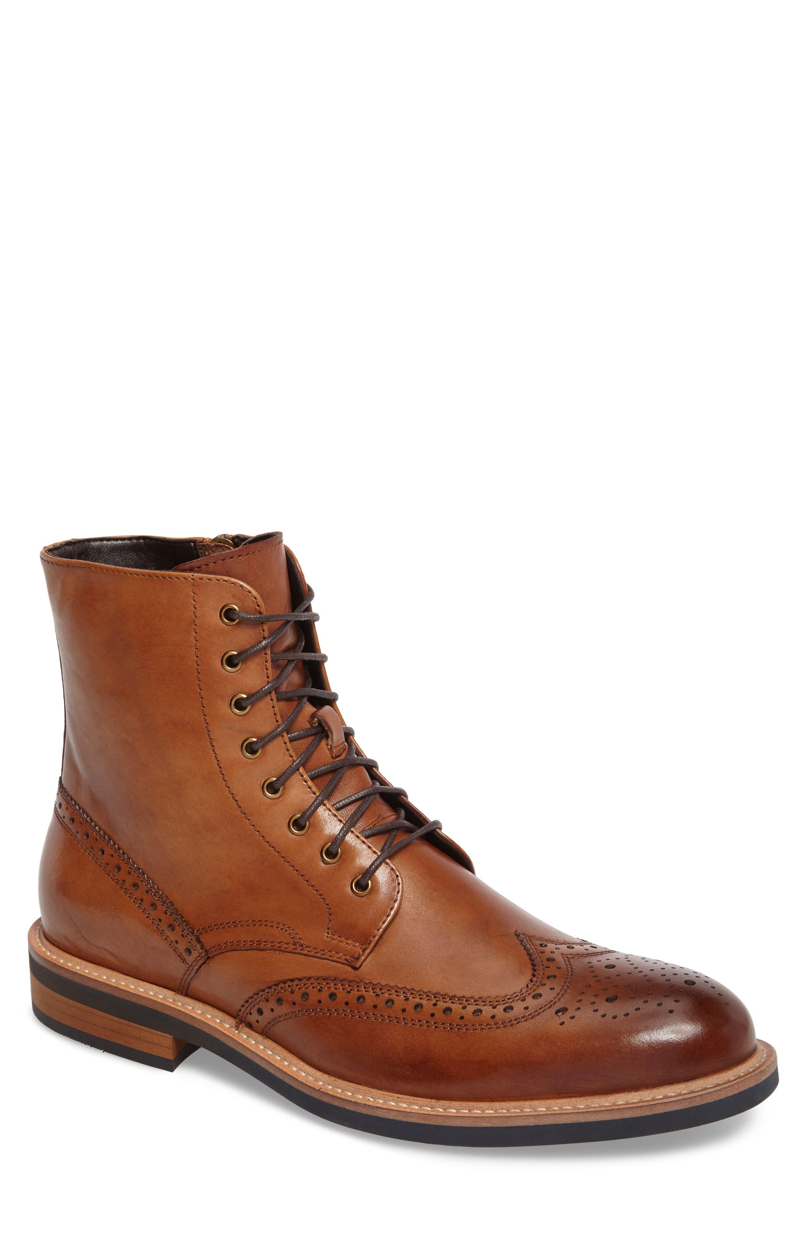 Kenneth Cole Reaction Wingtip Boot,                         Main,                         color, Cognac
