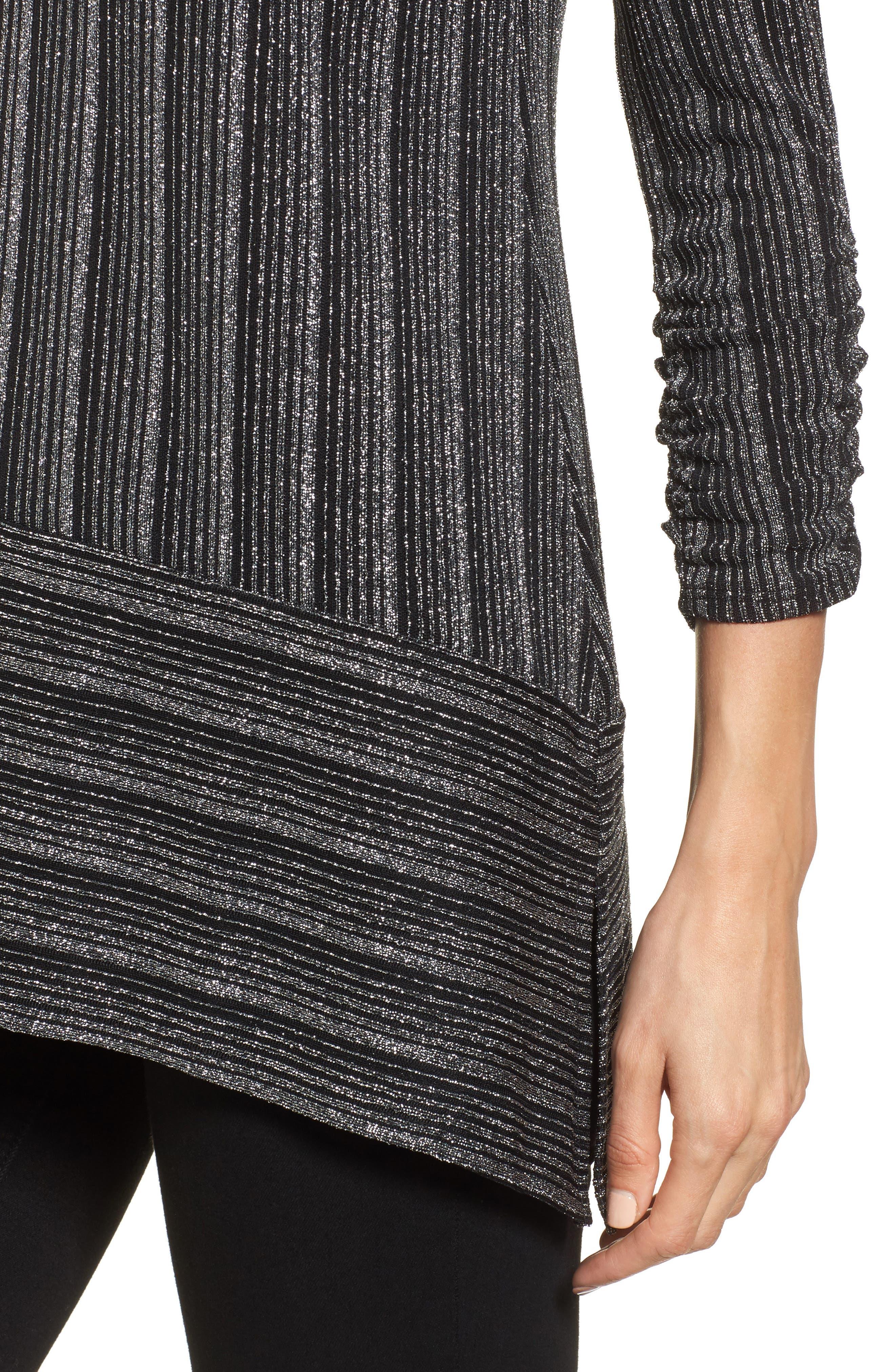 Metallic Stripe Asymmetrical Top,                             Alternate thumbnail 4, color,                             Rich Black