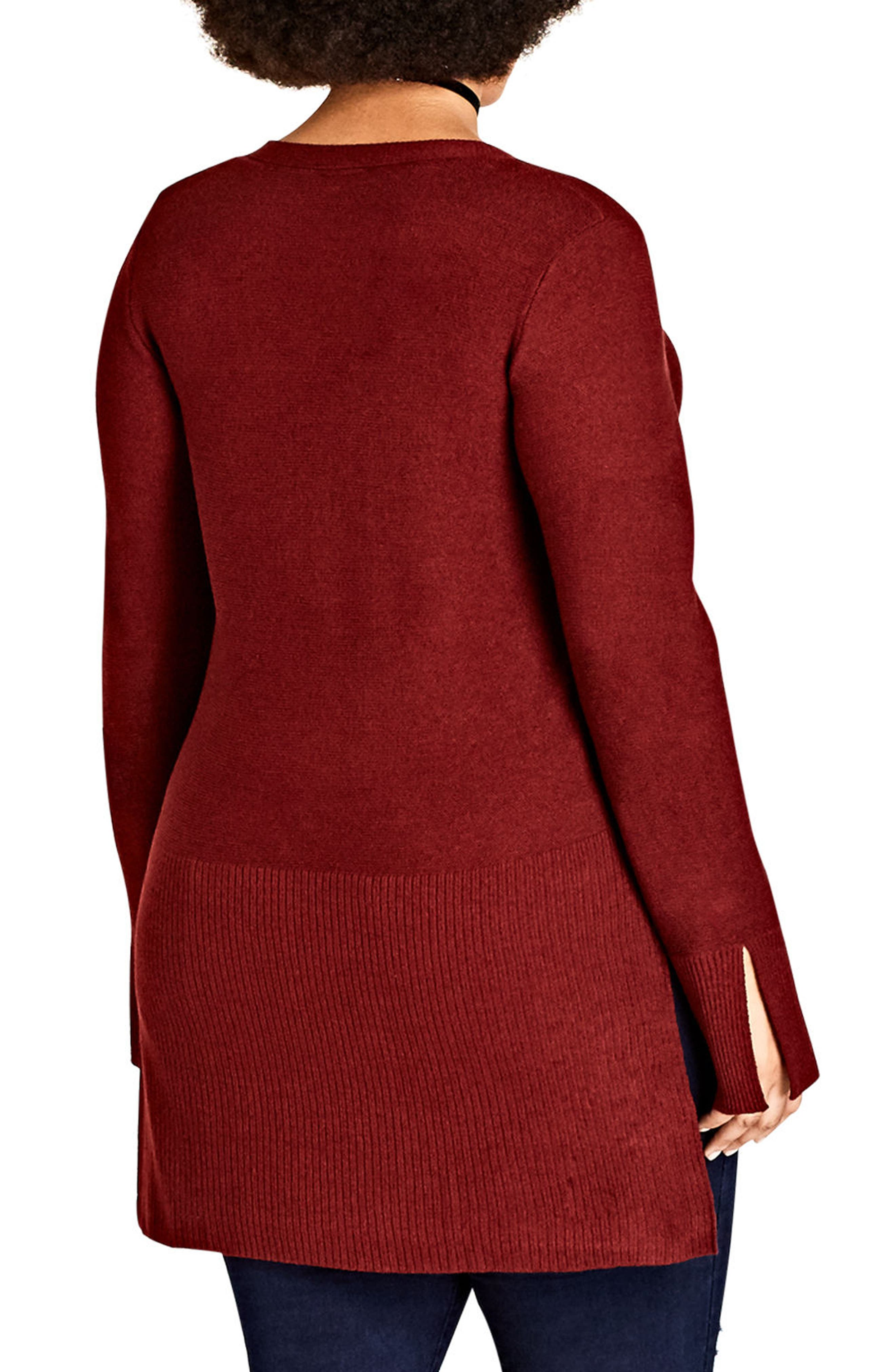 Crisscross Neck Sweater,                             Alternate thumbnail 2, color,                             Ruby