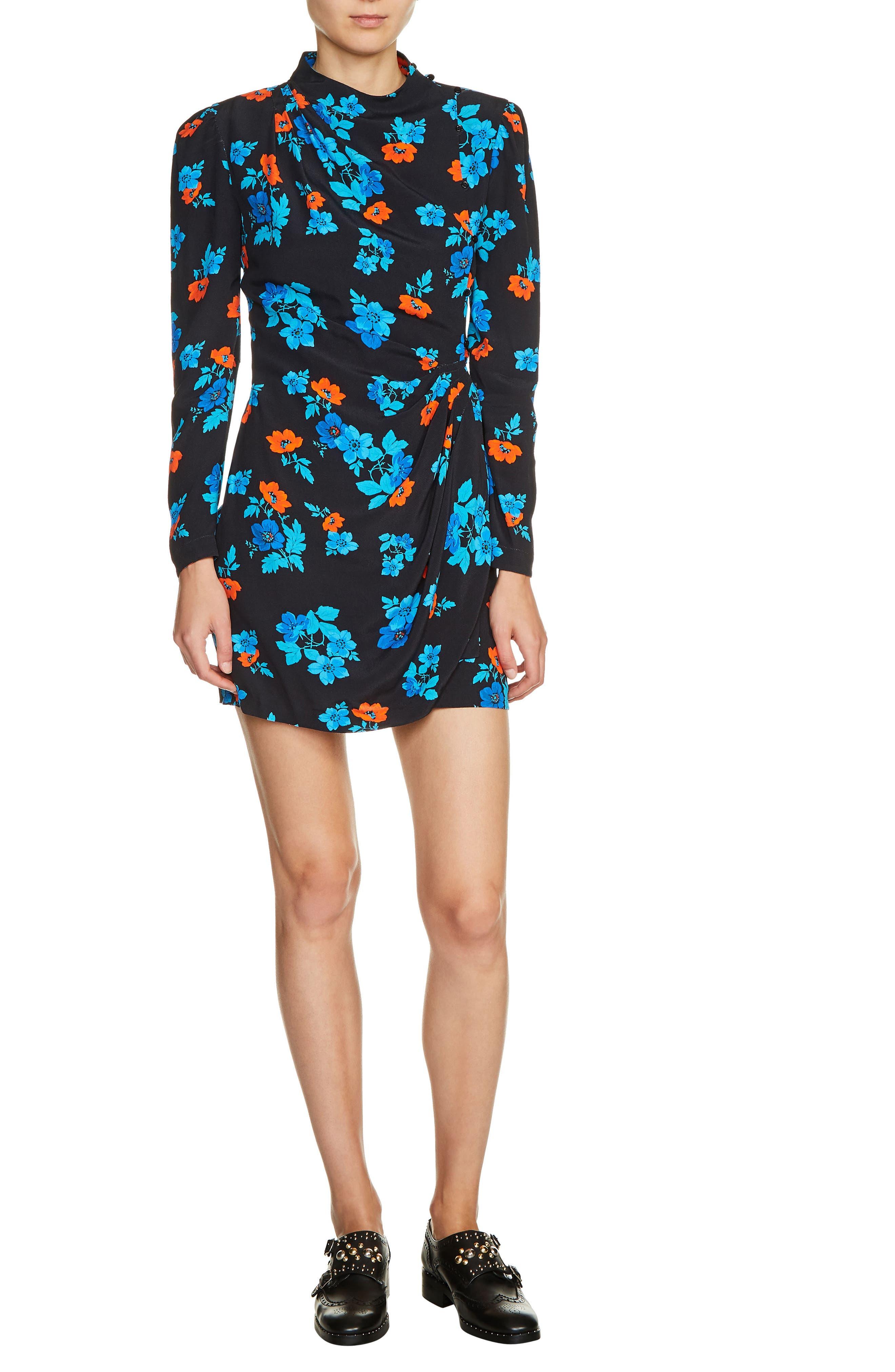 Floral Faux Wrap Dress,                         Main,                         color, Blue