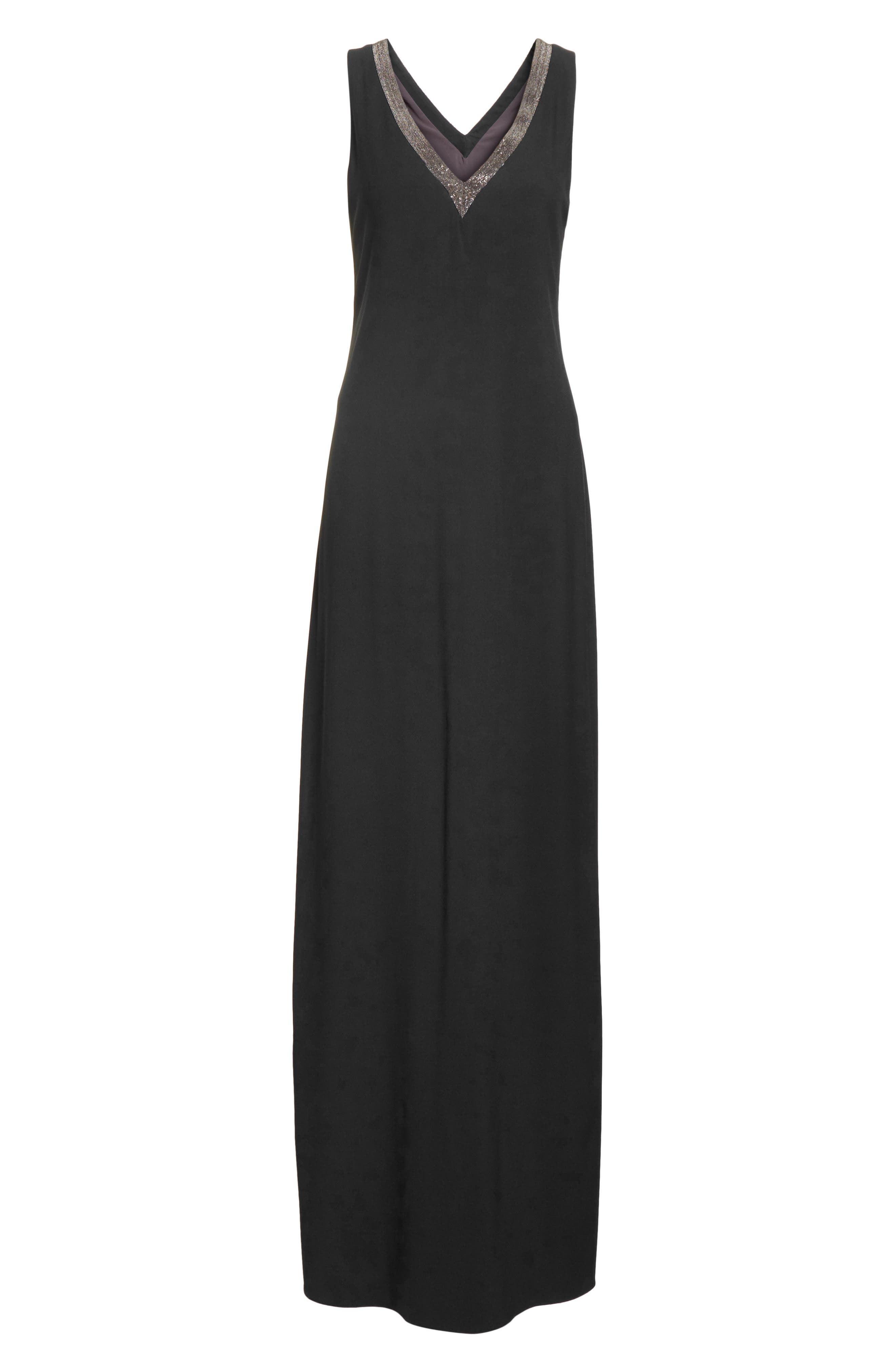 Beaded Maxi Dress,                             Alternate thumbnail 7, color,                             Black