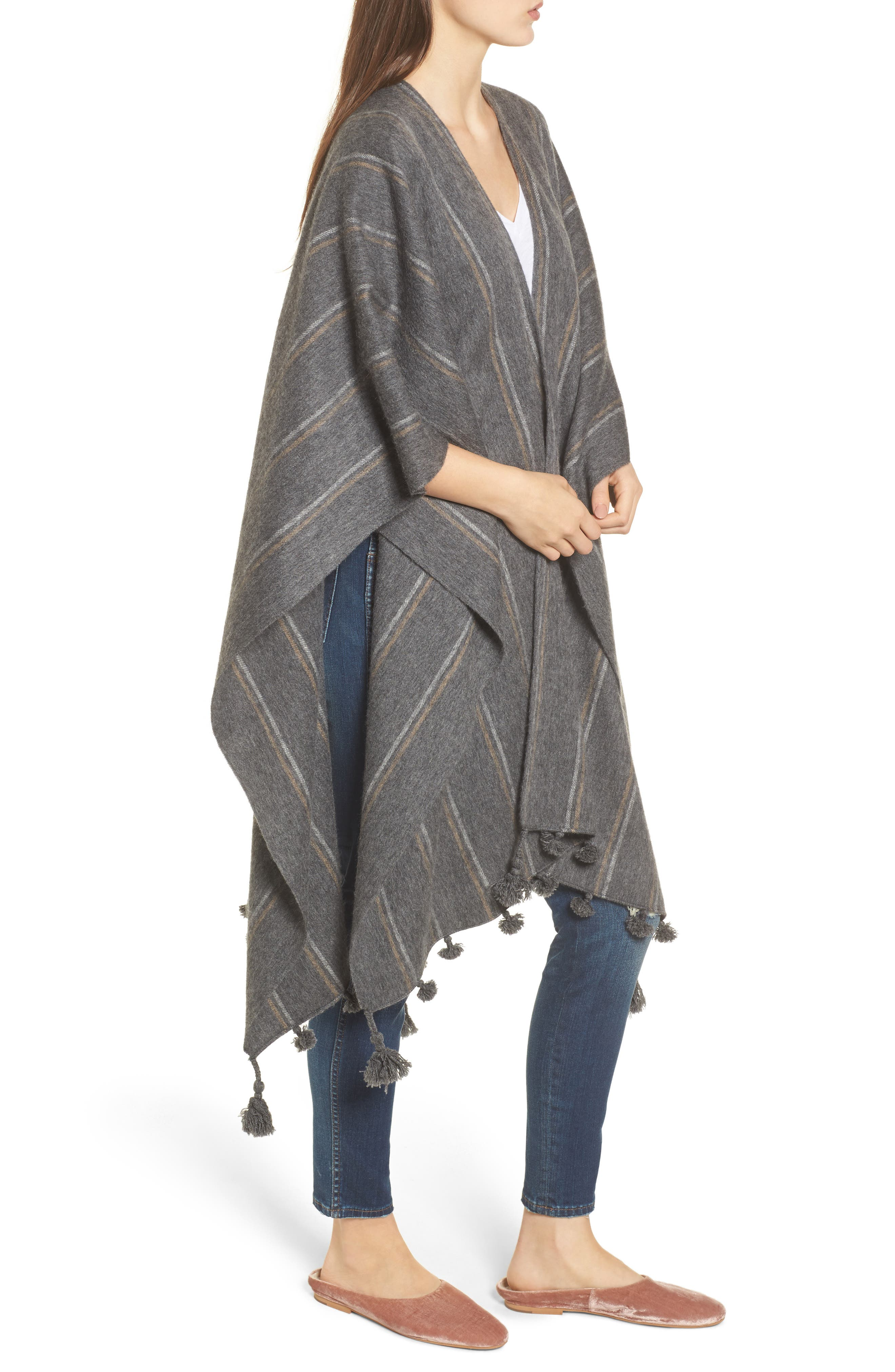 Stripe Poncho Scarf,                             Alternate thumbnail 3, color,                             Heather Charcoal