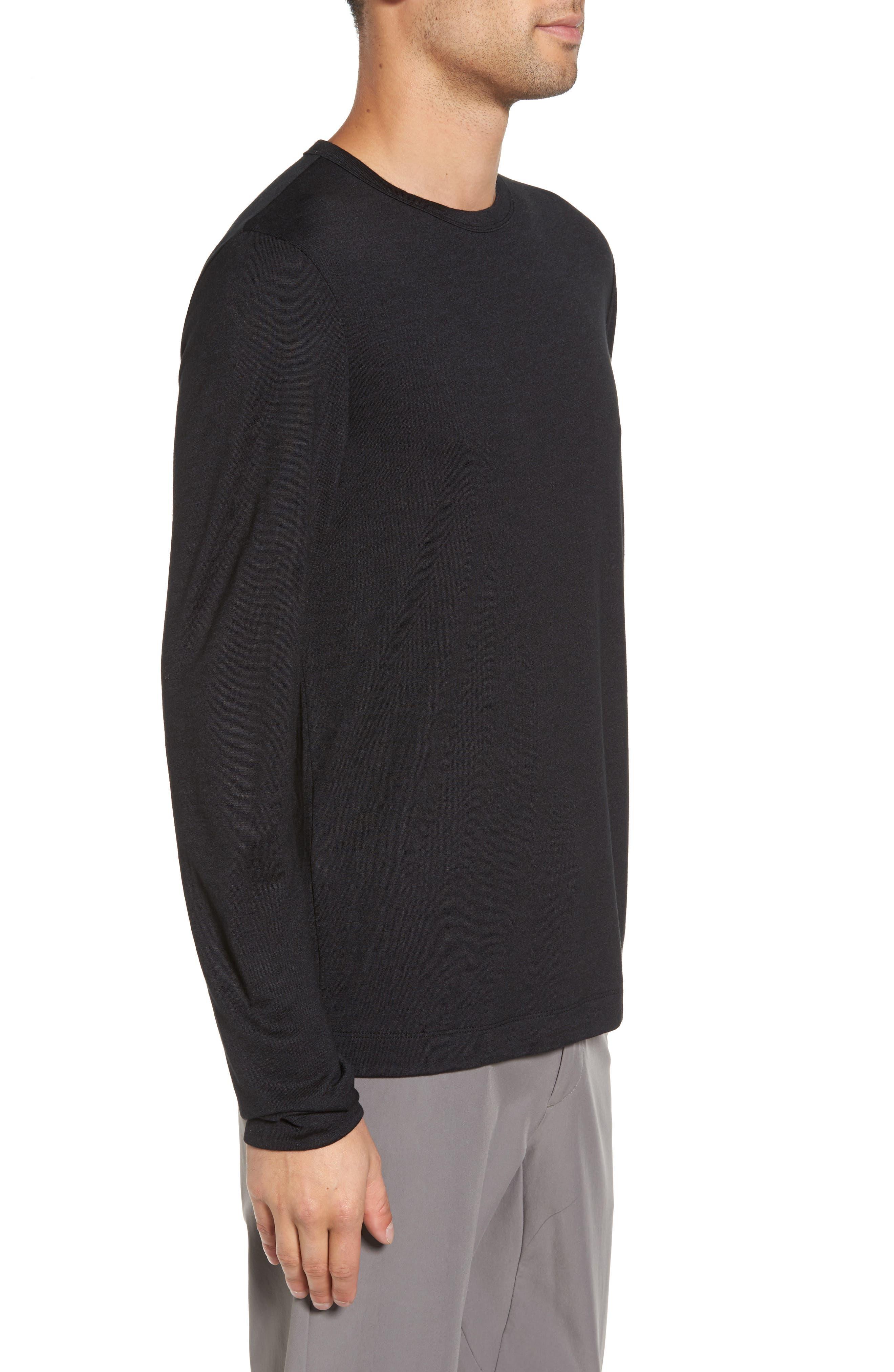 Long Sleeve T-Shirt,                             Alternate thumbnail 3, color,                             Black