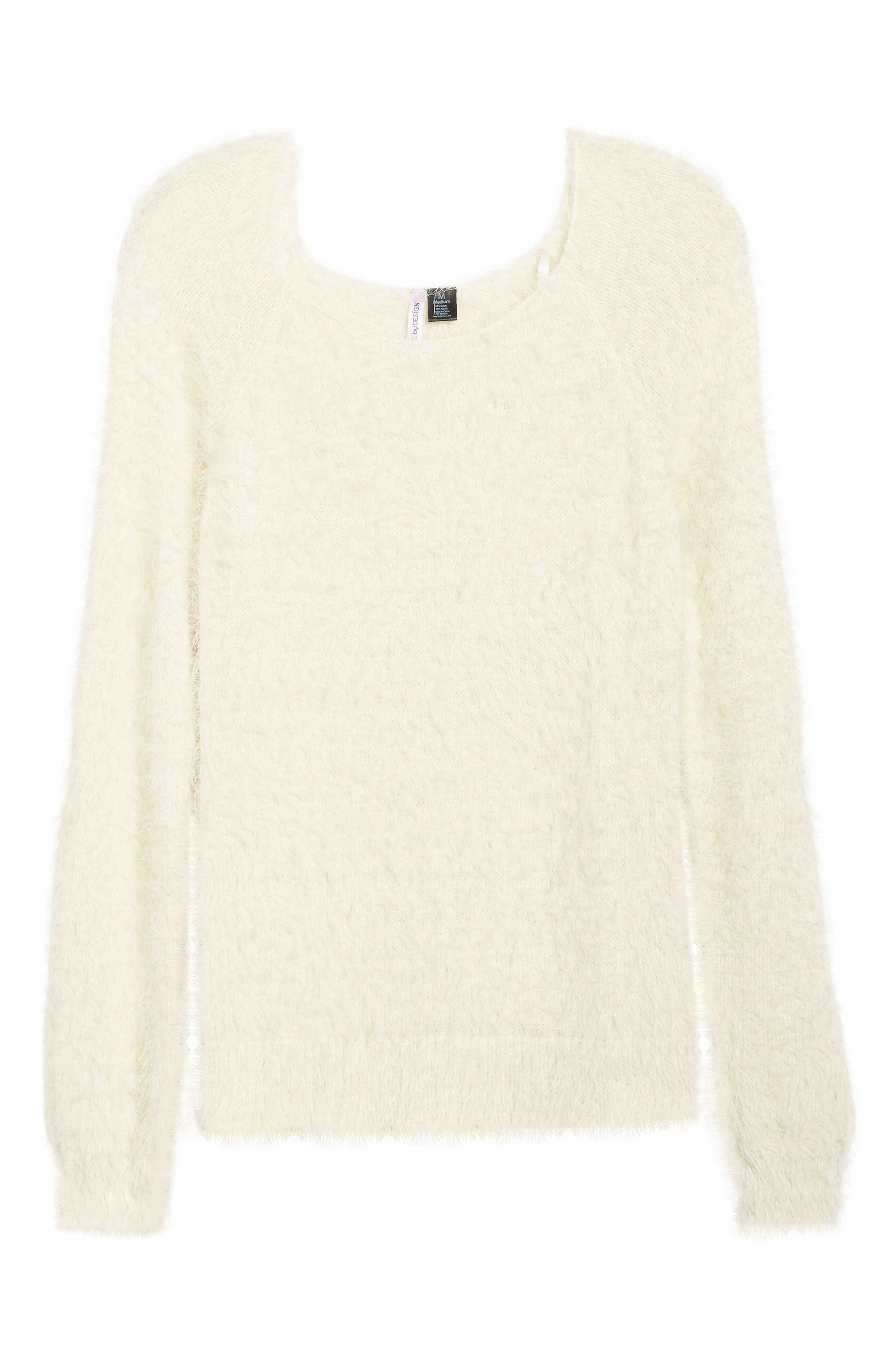 Eyelash Sweater,                             Alternate thumbnail 6, color,                             Ivory