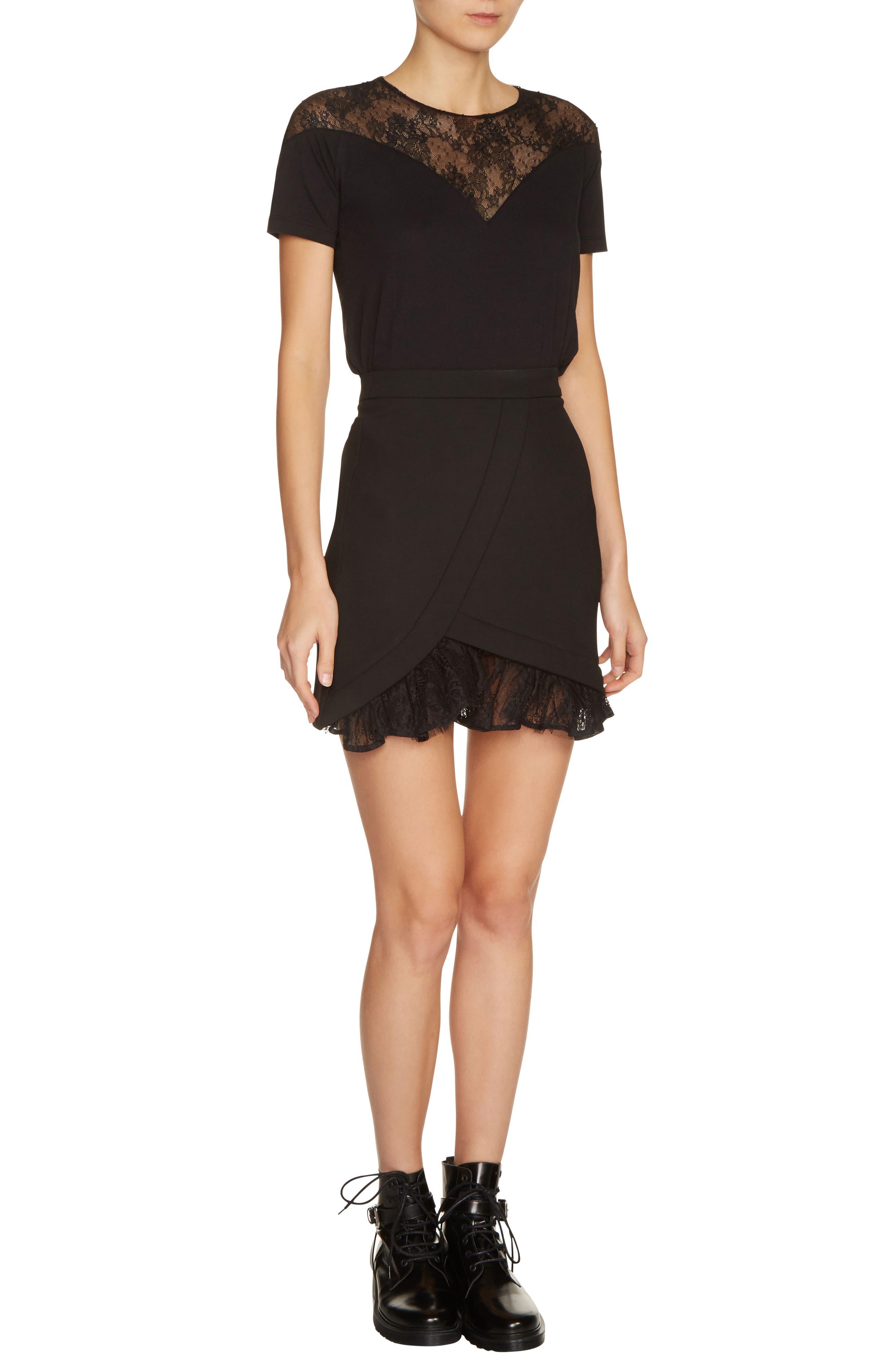 maje Lace Inset A-Line Miniskirt