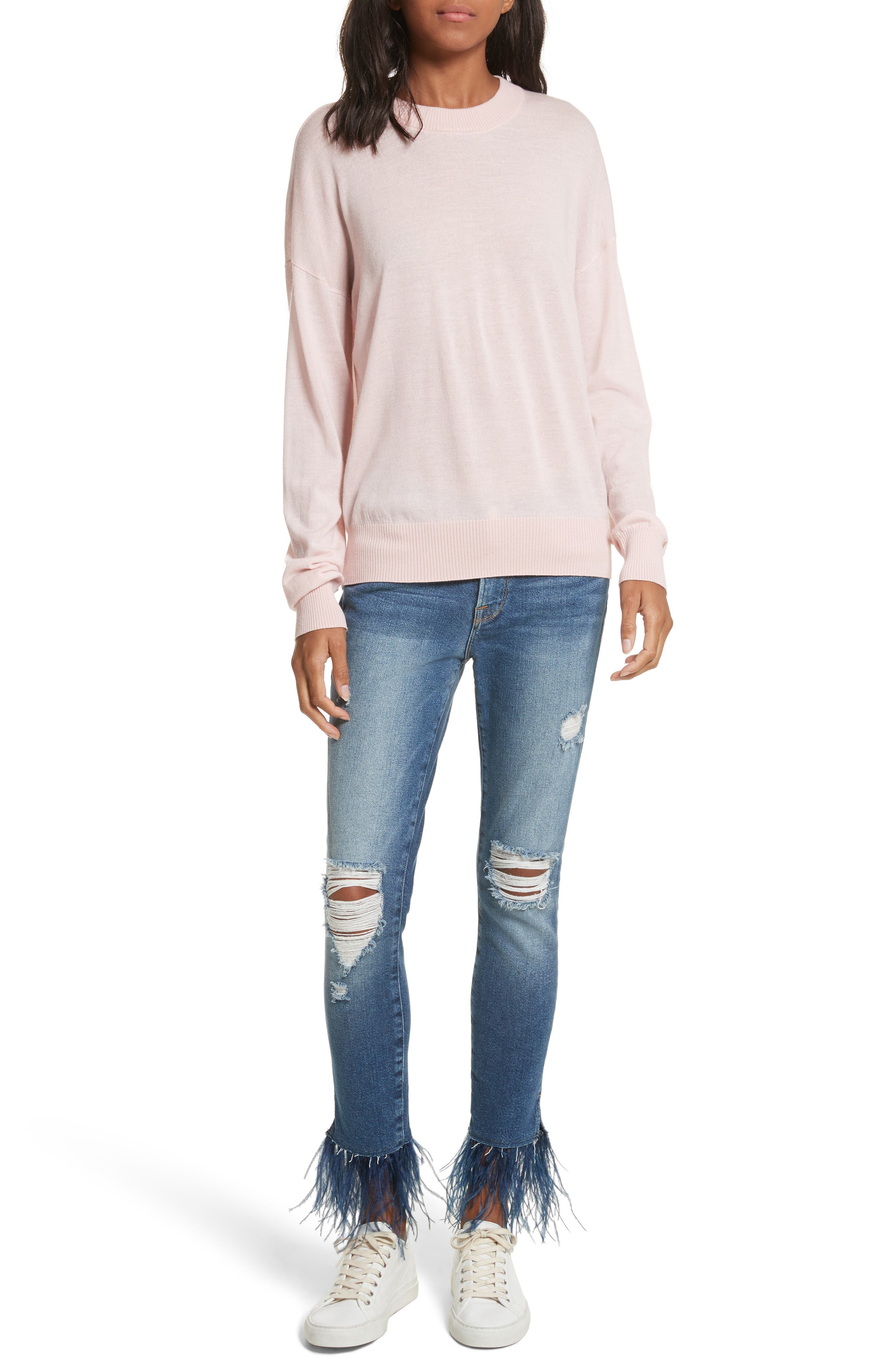 Mid Rise Skinny Feather Embellished Jeans,                             Alternate thumbnail 6, color,                             Chrystie