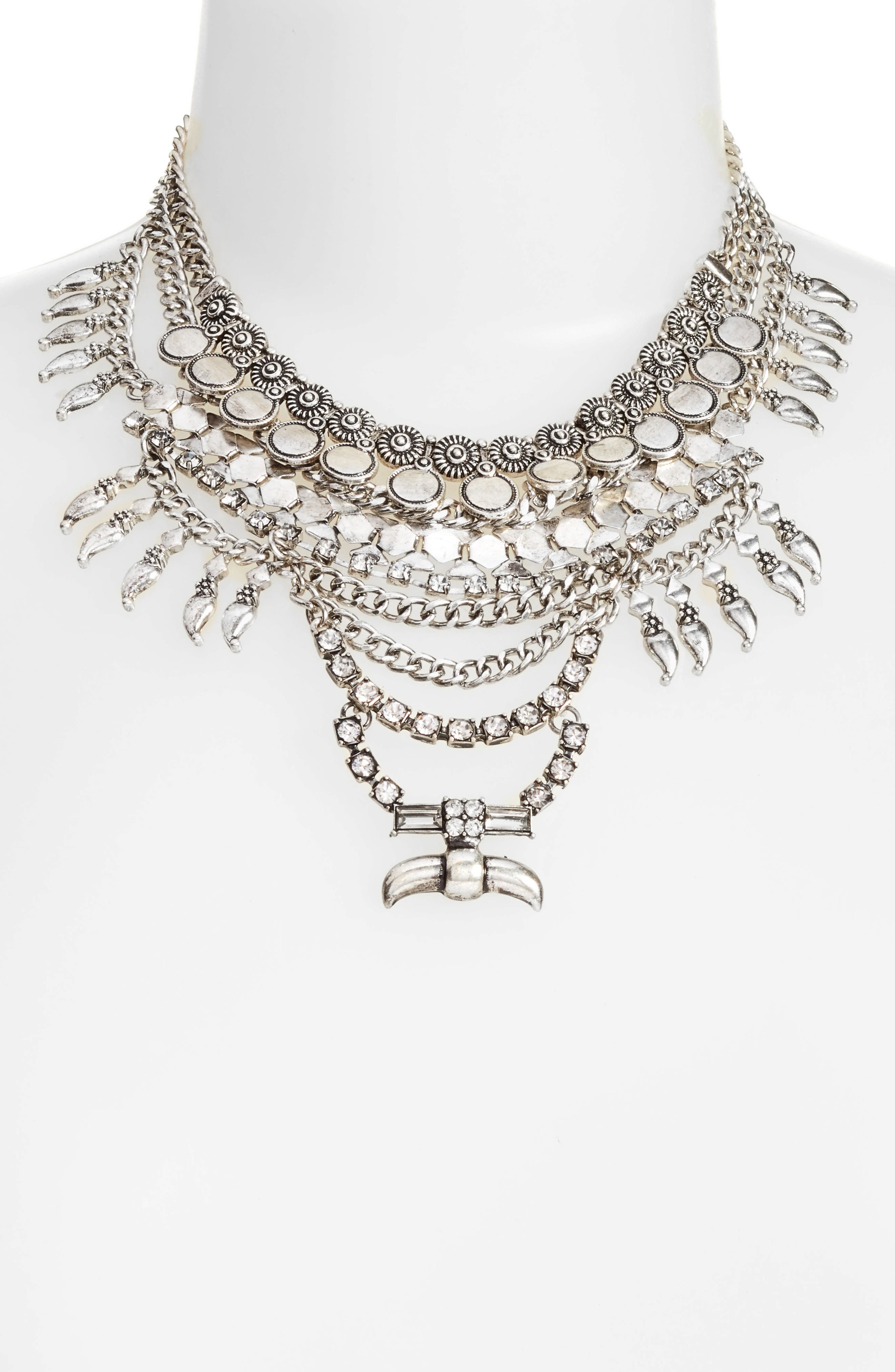 Alternate Image 2  - DLNLX BY DYLANLEX Crystal & Chain Multistrand Necklace